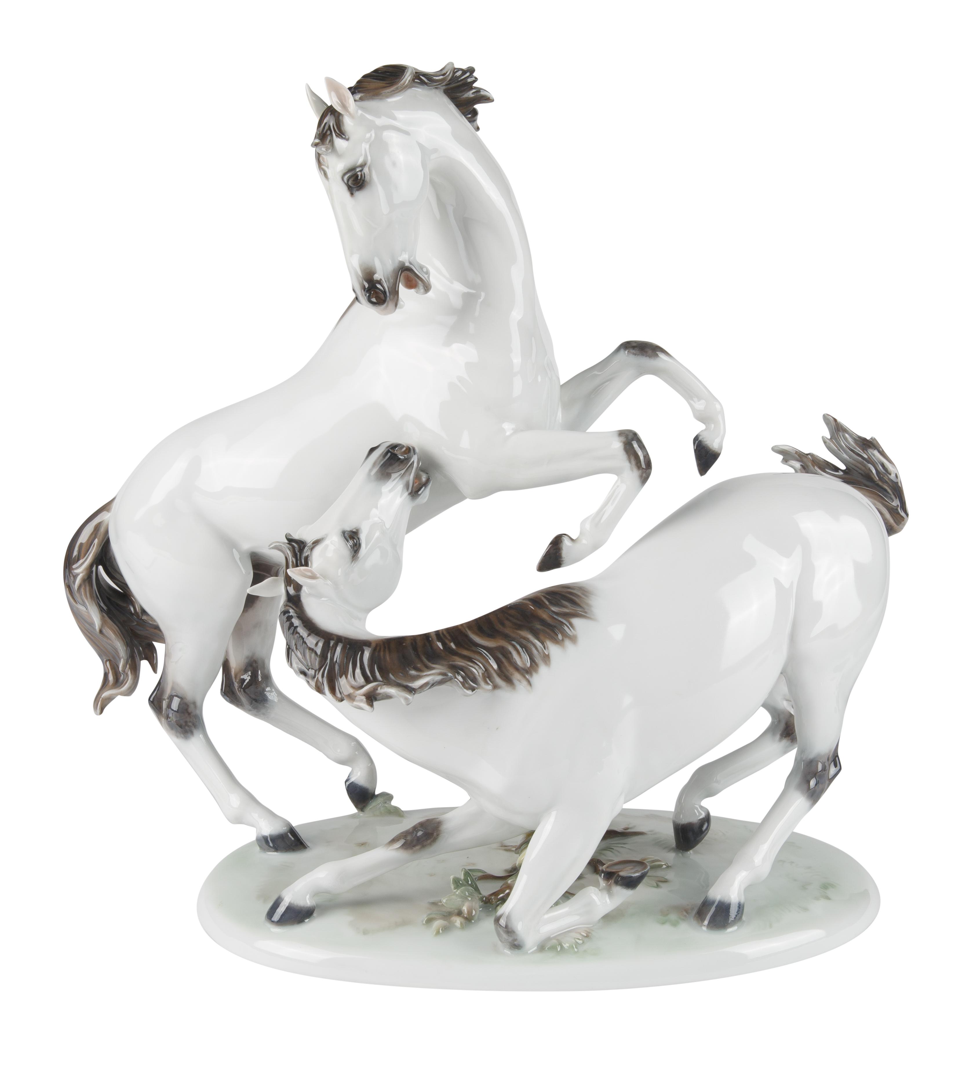 CIRCA 1957 AFTER HUGO MEISEL (GERMAN 1887-1966), PORCELAIN WILD HORSE FIGURAL GROUP
