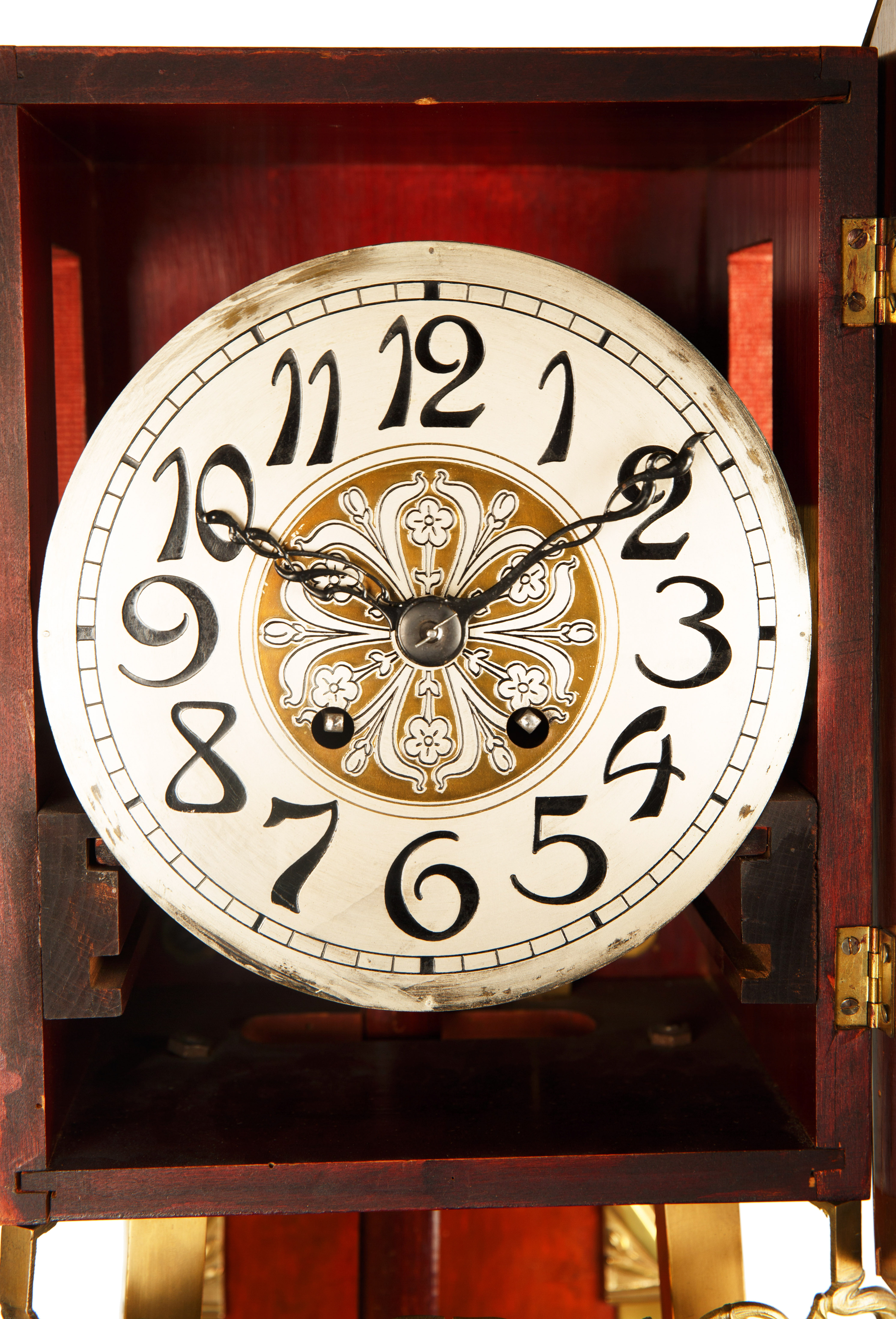 ART NOUVEAU STYLE WOOD AND BRASS GRANDFATHER CLOCK - Image 3 of 8