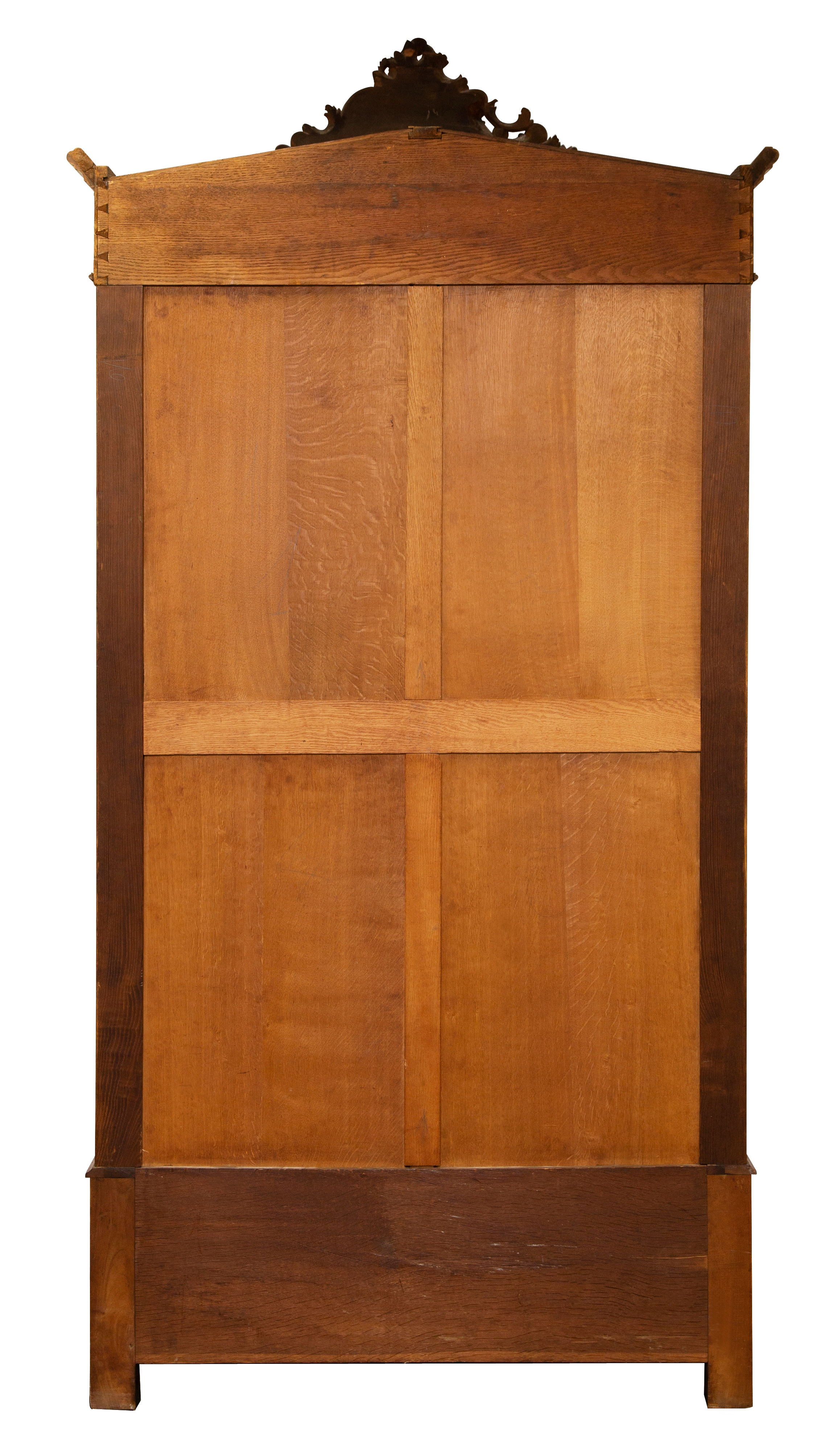 LATE 19TH CENTURY FRENCH REGENCE CARVED WALNUT OVERSIZED MIRRORED SINGLE DOOR ARMOIRE - Image 4 of 4