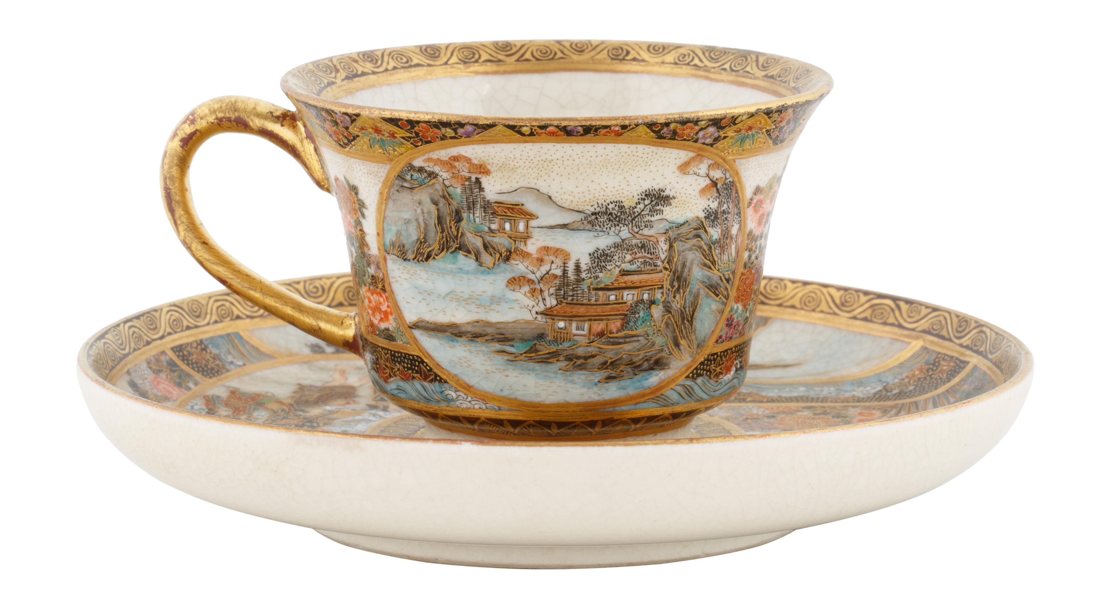 19TH CENTURY SATSUMA PORCELAIN TEA CUP AND SAUCER - Image 2 of 7
