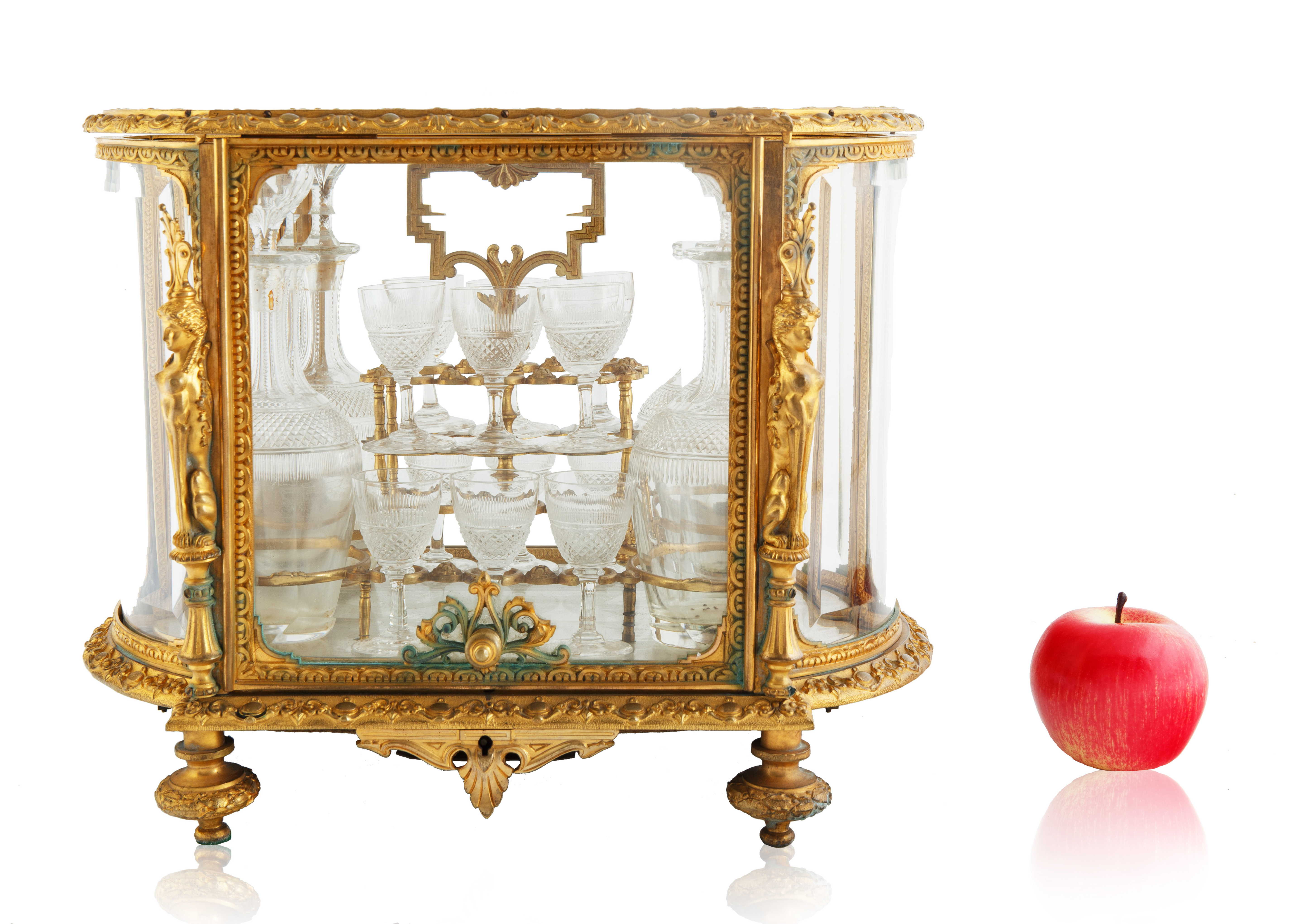LATE 19TH-EARLY 20TH CENTURY FRENCH LOUIS XVI STYLE GILT BRONZE CAVE A LIQUEUR - Image 7 of 7