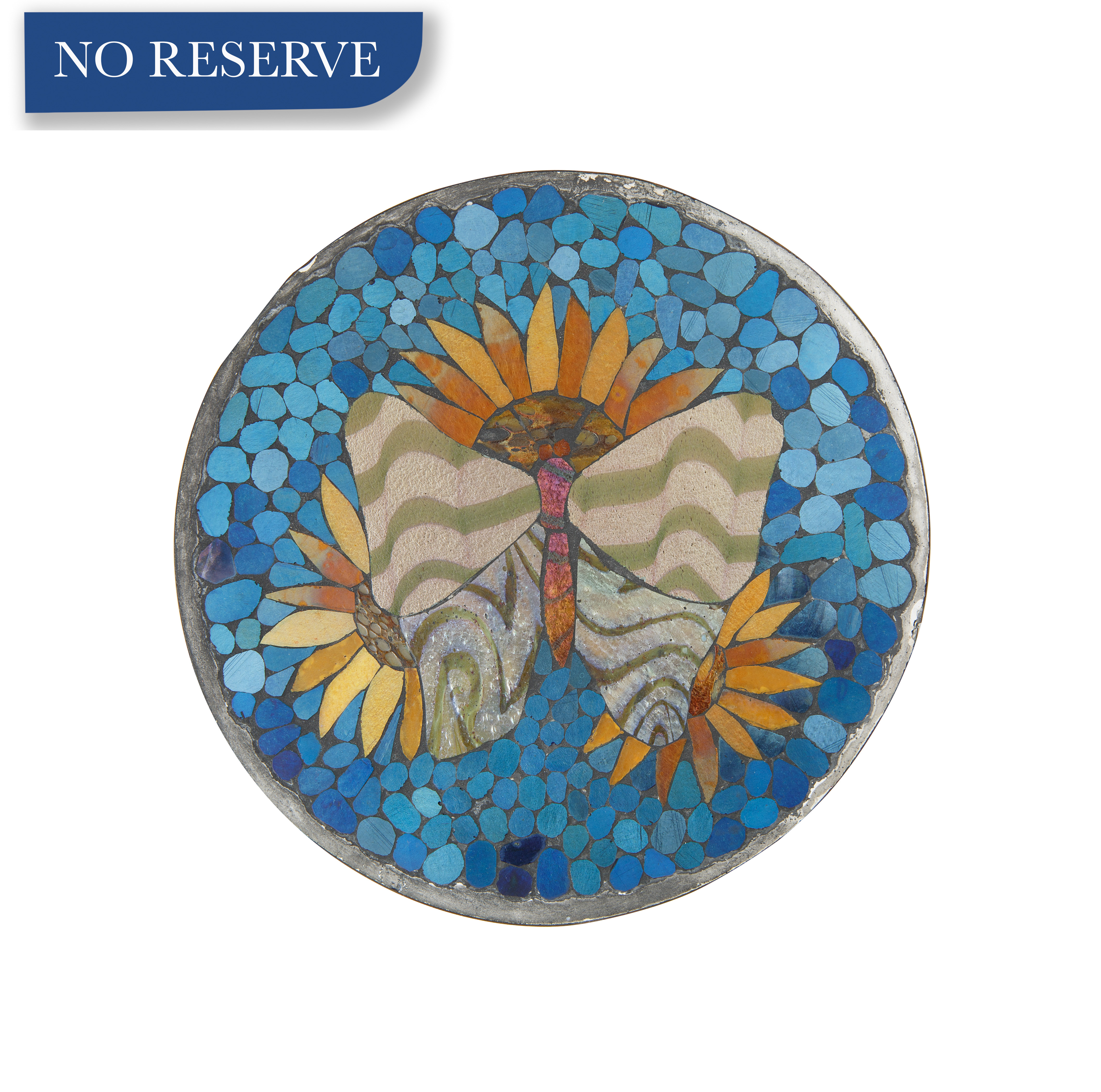 20TH CENTURY 'SUNFLOWER AND BUTTERFLY' TRIVET