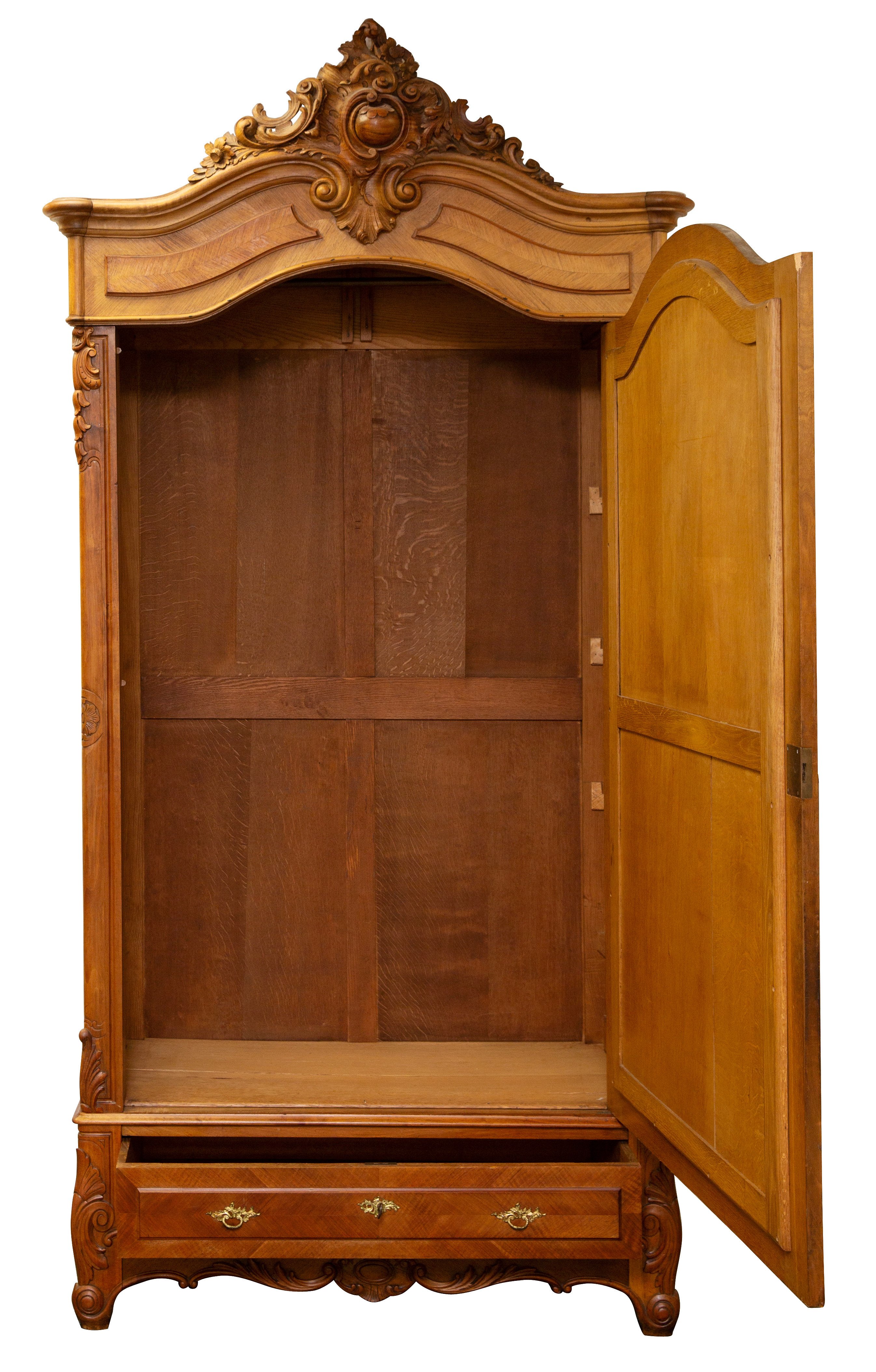 LATE 19TH CENTURY FRENCH REGENCE CARVED WALNUT OVERSIZED MIRRORED SINGLE DOOR ARMOIRE - Image 3 of 4