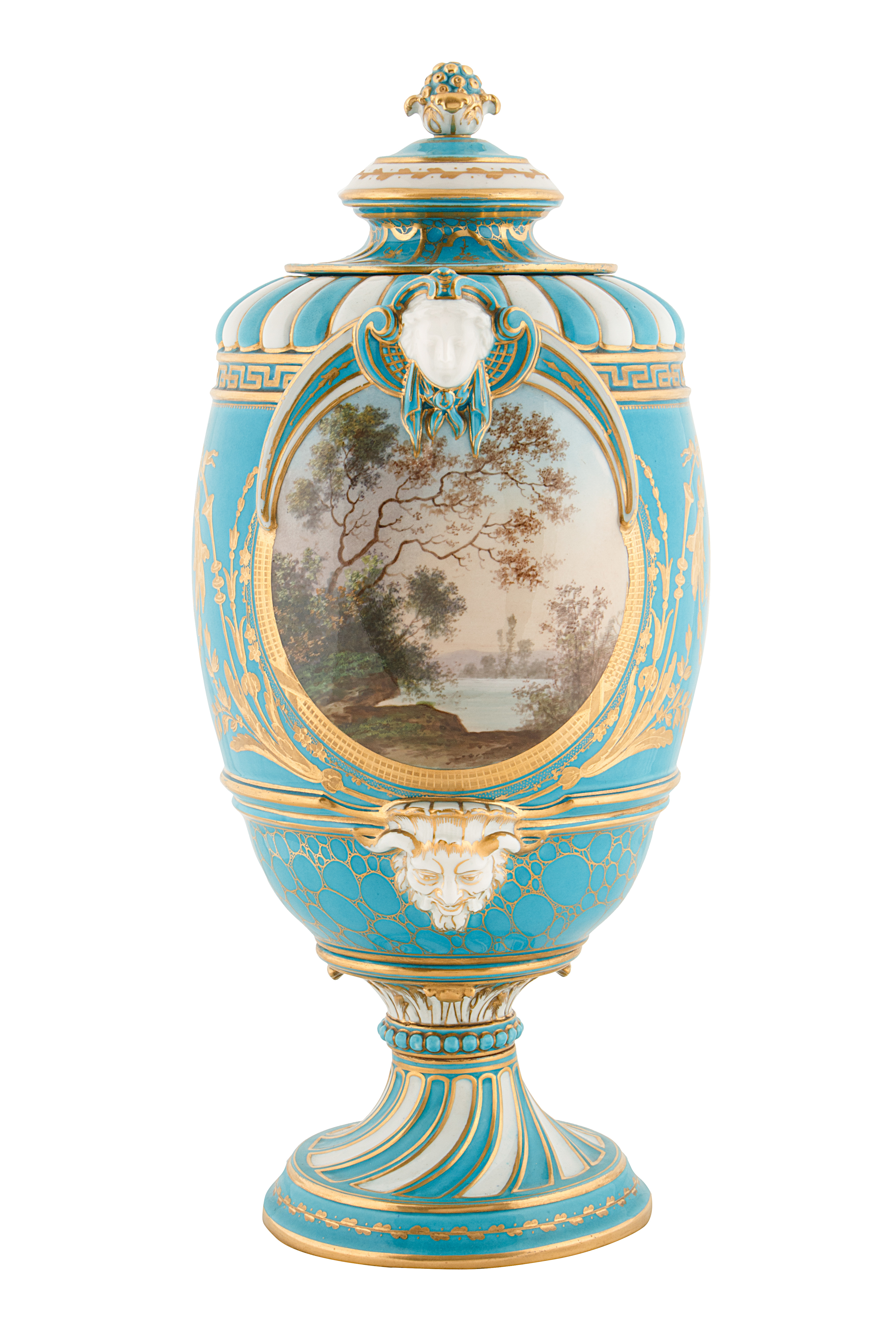 19TH CENTURY FRENCH SEVRE-STYLE PORCELAIN URNS - Image 5 of 6
