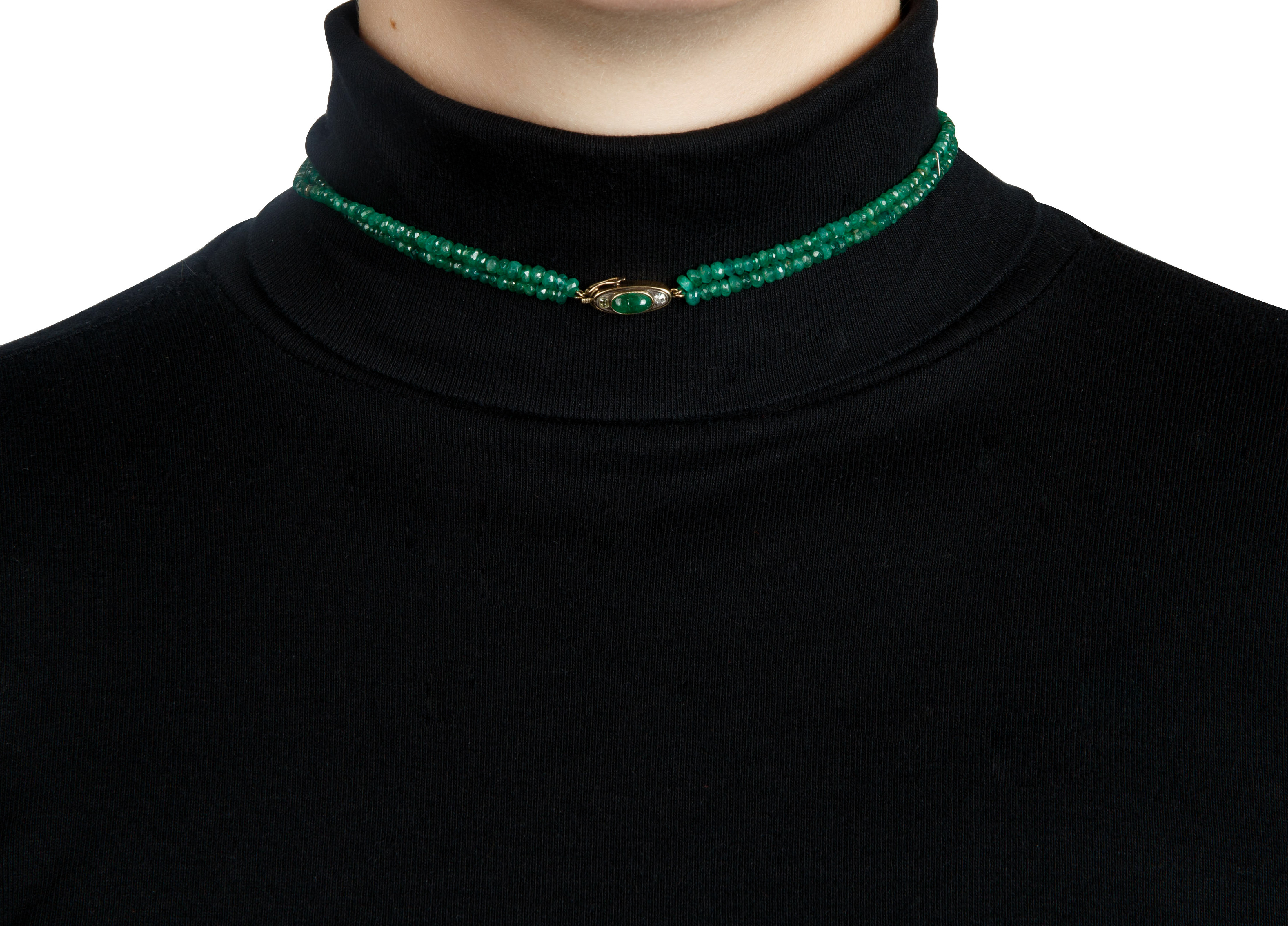 AN EMERALD, DIAMOND AND JADEITE BEADED NECKLACE, LIKELY FRENCH - Image 5 of 5