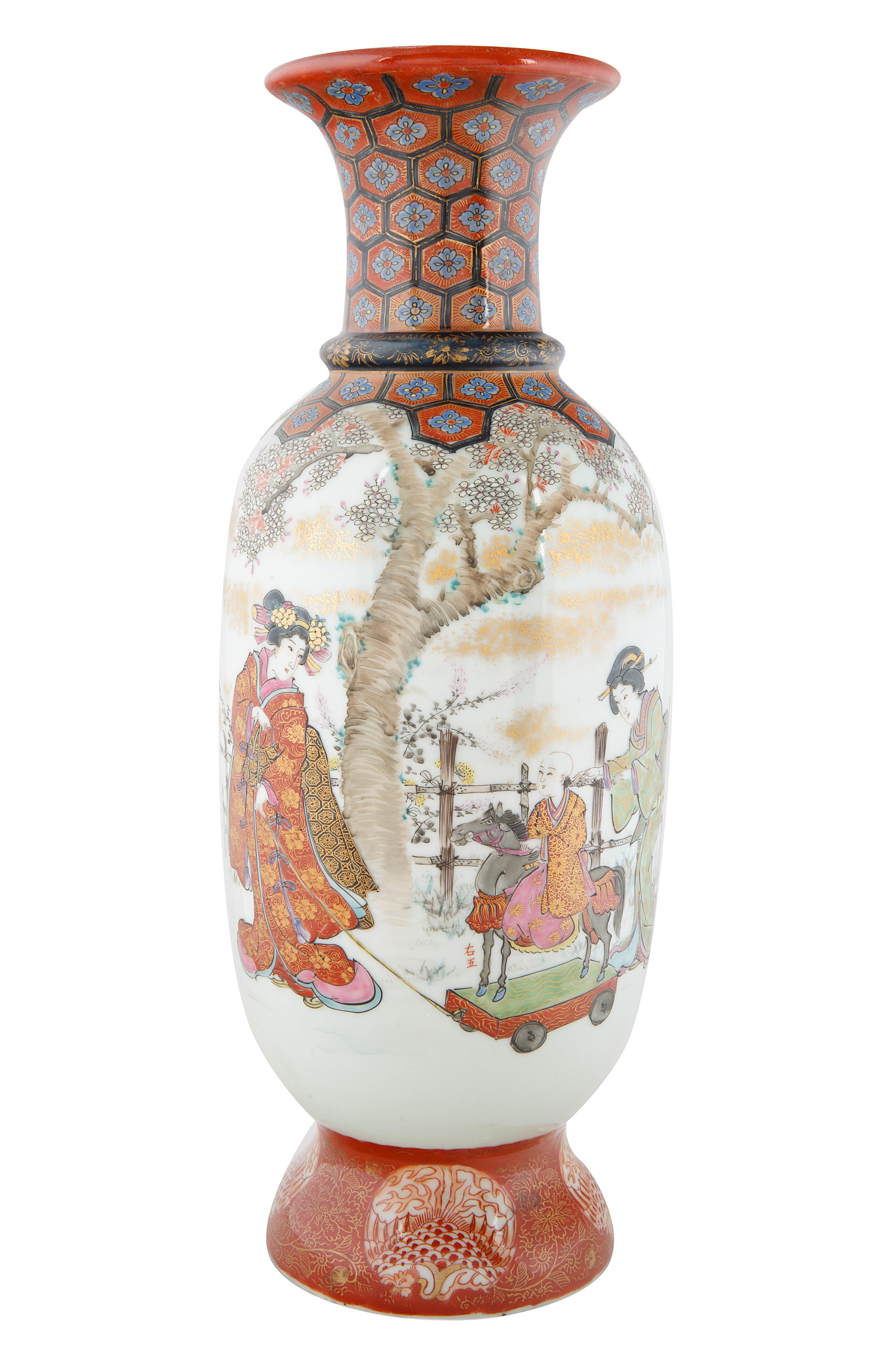 EARLY 20TH CENTURY JAPANESE KUTANI BALUSTER VASE - Image 2 of 5