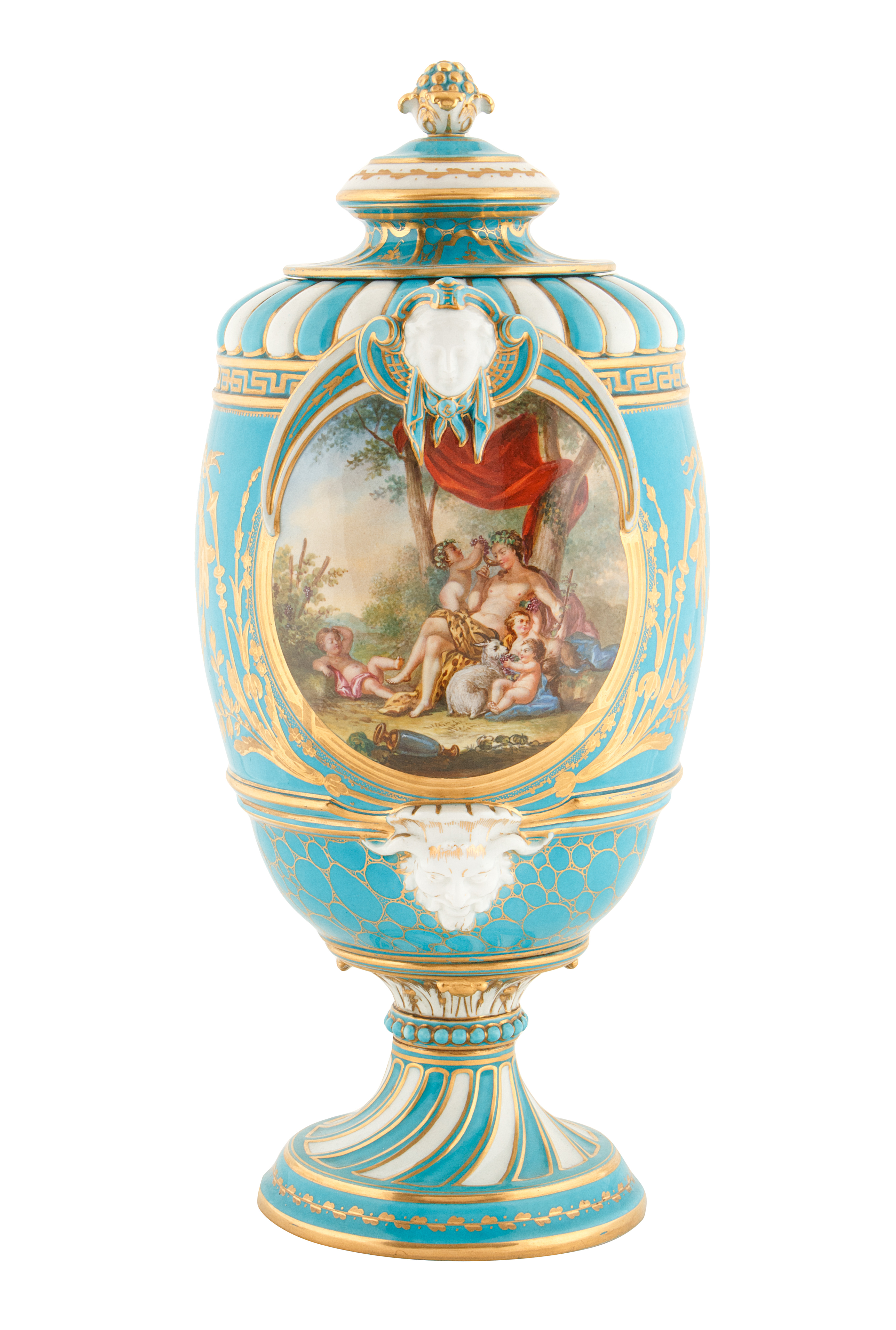 19TH CENTURY FRENCH SEVRE-STYLE PORCELAIN URNS - Image 4 of 6