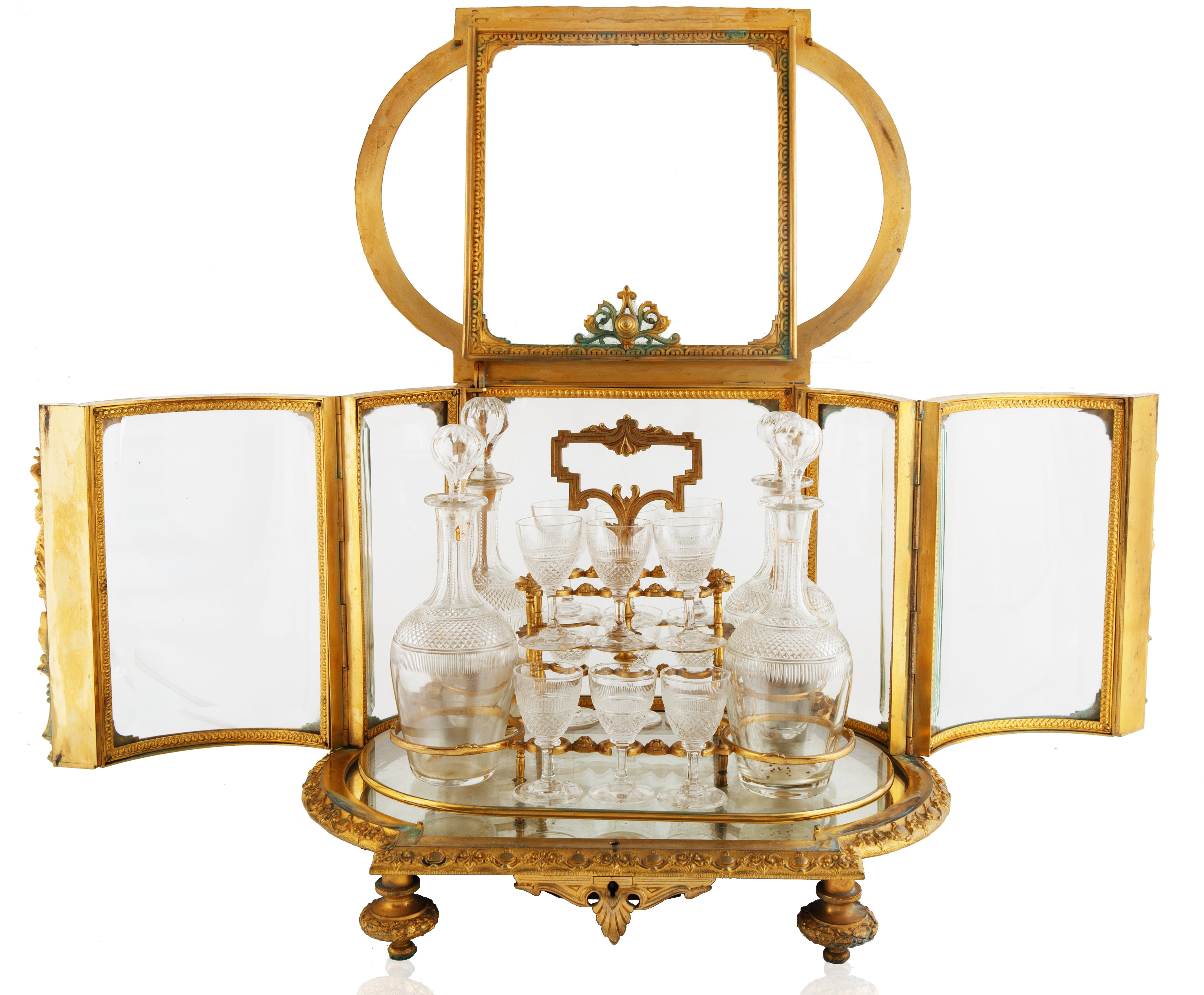 LATE 19TH-EARLY 20TH CENTURY FRENCH LOUIS XVI STYLE GILT BRONZE CAVE A LIQUEUR - Image 5 of 7