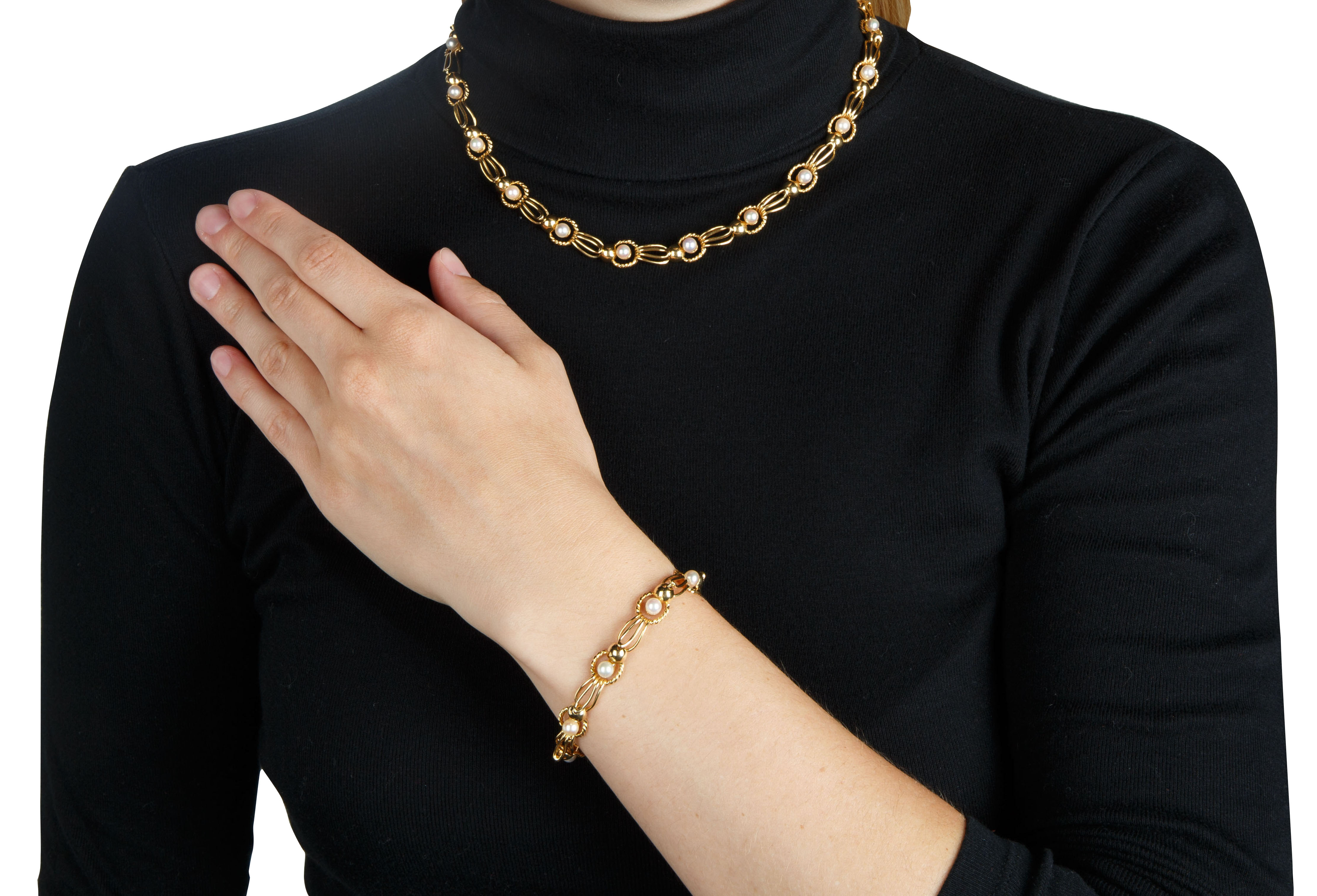 PEARL AND 18KT GOLD BRACELET AND NECKLACE SET - Image 8 of 8