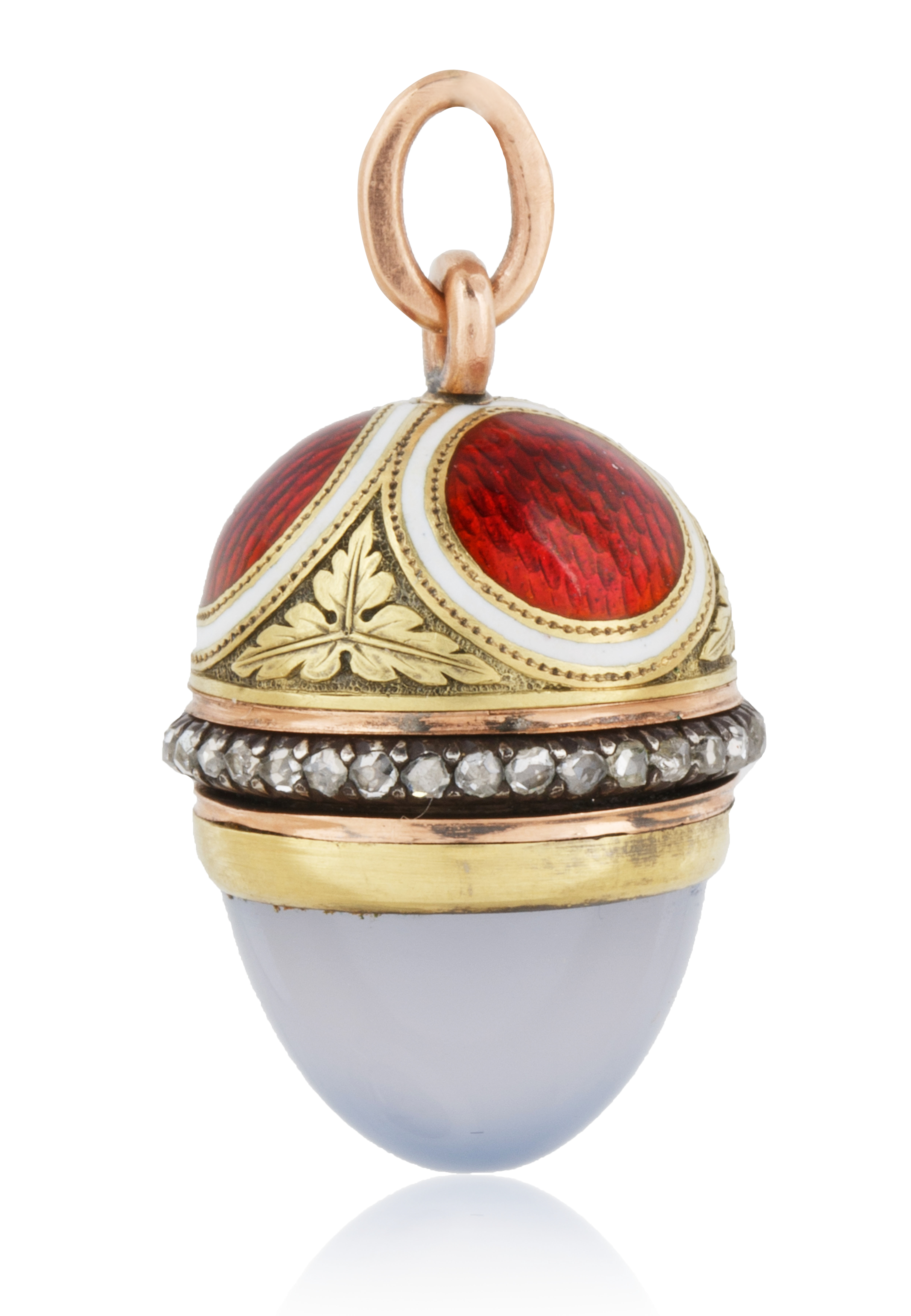 A 1908-1912 FABERGE AUGUST HOLLMING RUSSIAN GOLD, DIAMOND, MOONSTONE AND ENAMEL EGG PENDANT, ST. PET