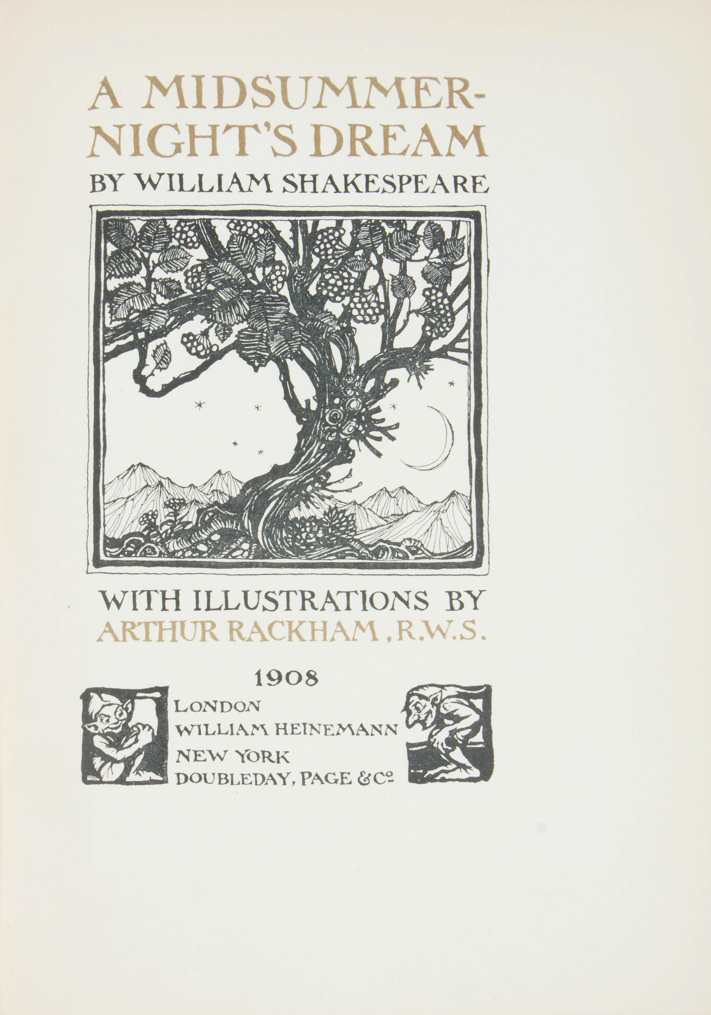 1908 MIDSUMMER NIGHT'S DREAM BY WILLIAM SHAKESPEARE, ILLUSTRATIONS BY ARTHUR RACKHAM - Image 4 of 7