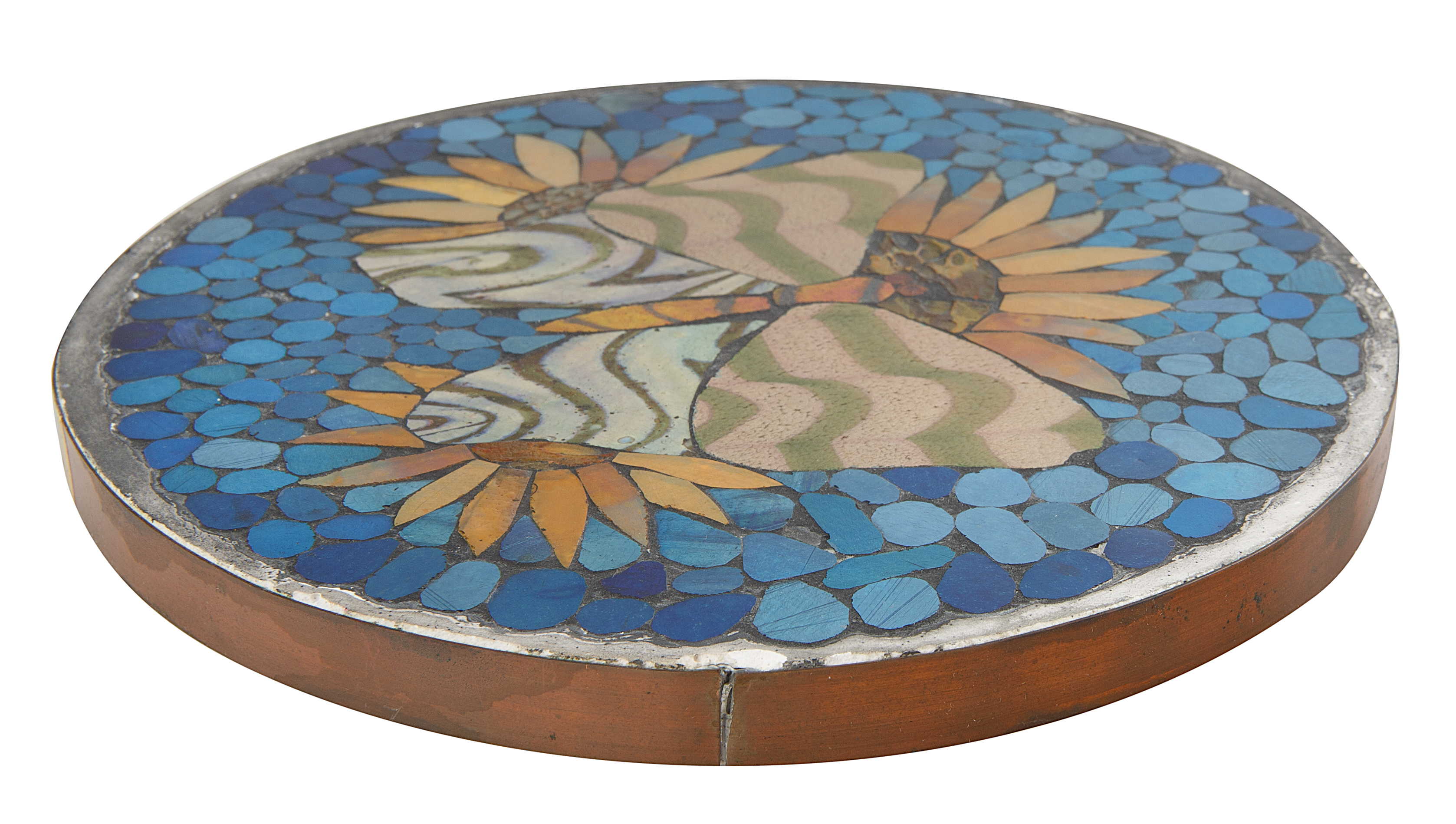 20TH CENTURY 'SUNFLOWER AND BUTTERFLY' TRIVET - Image 4 of 4