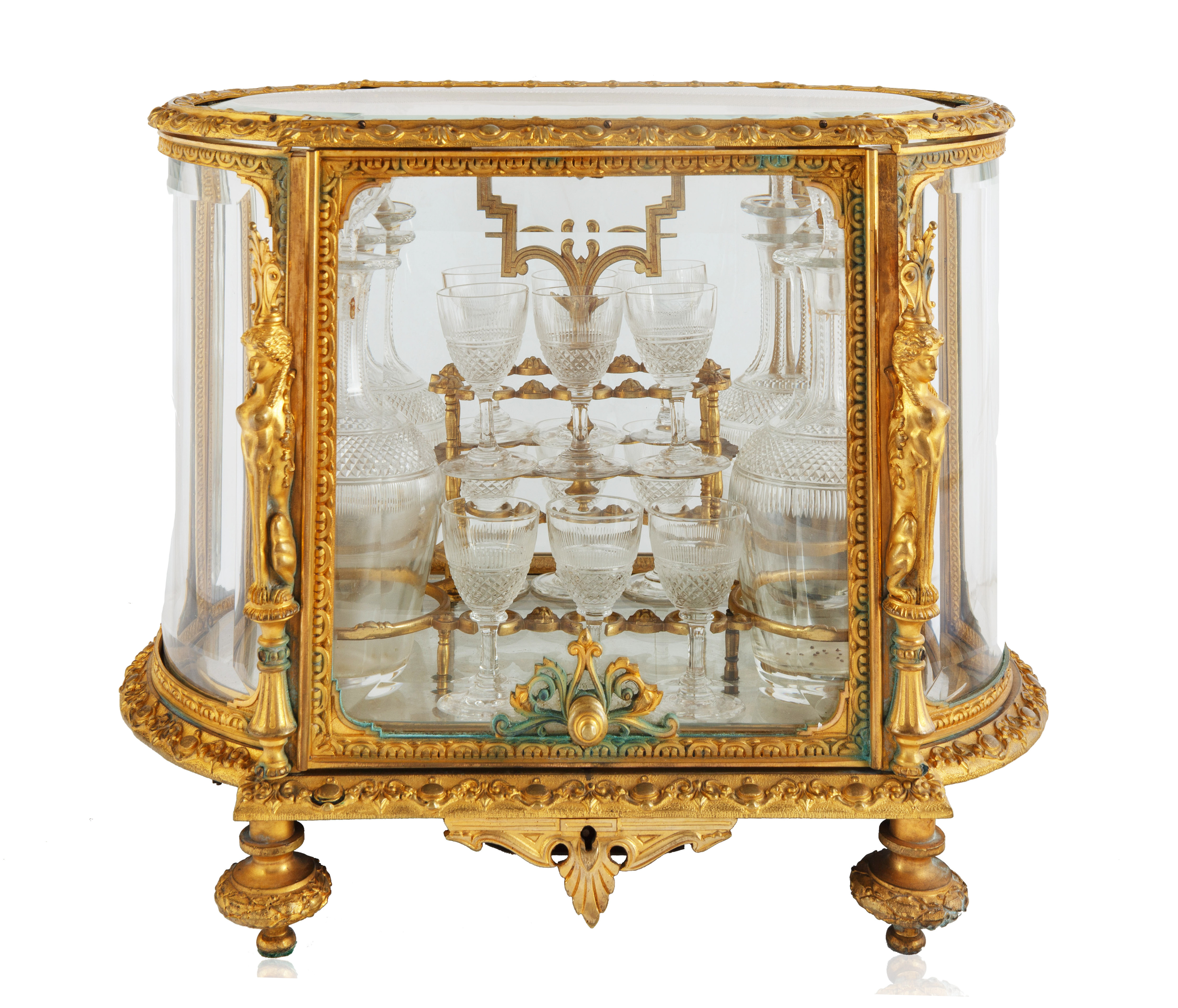 LATE 19TH-EARLY 20TH CENTURY FRENCH LOUIS XVI STYLE GILT BRONZE CAVE A LIQUEUR