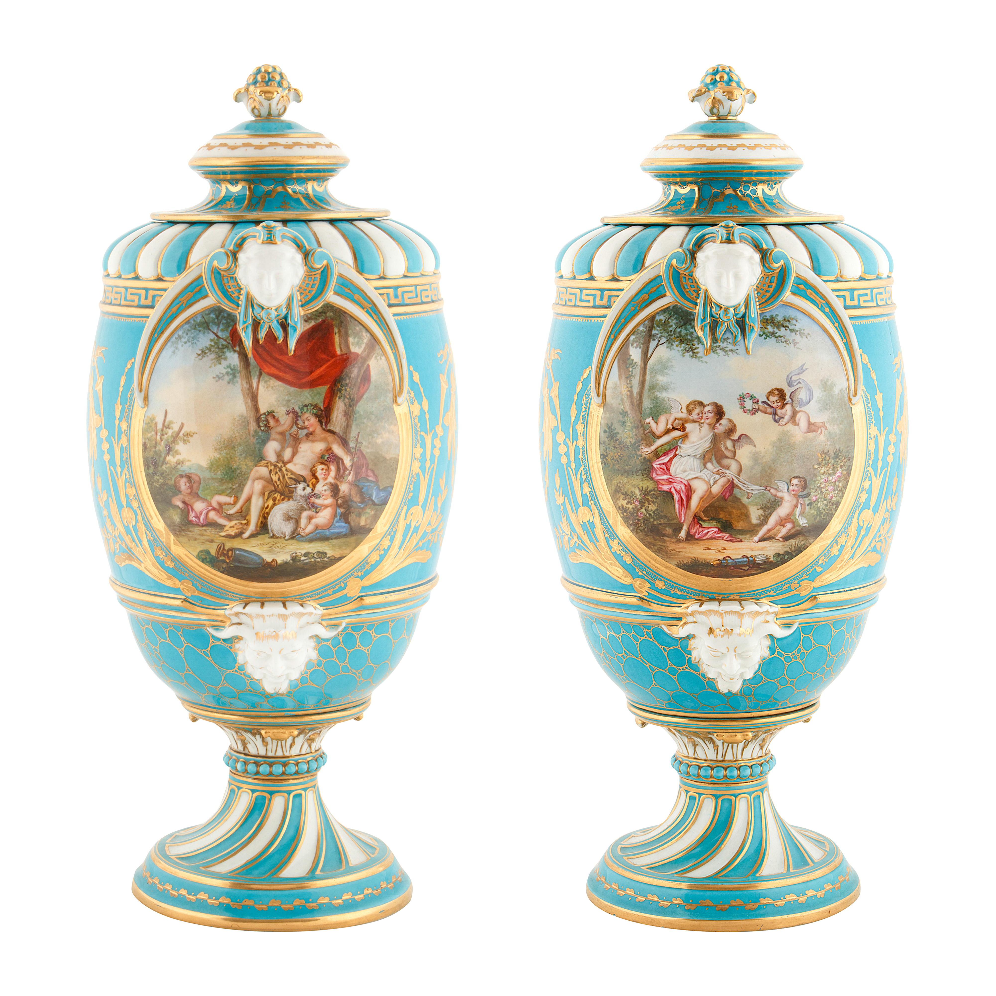 19TH CENTURY FRENCH SEVRE-STYLE PORCELAIN URNS