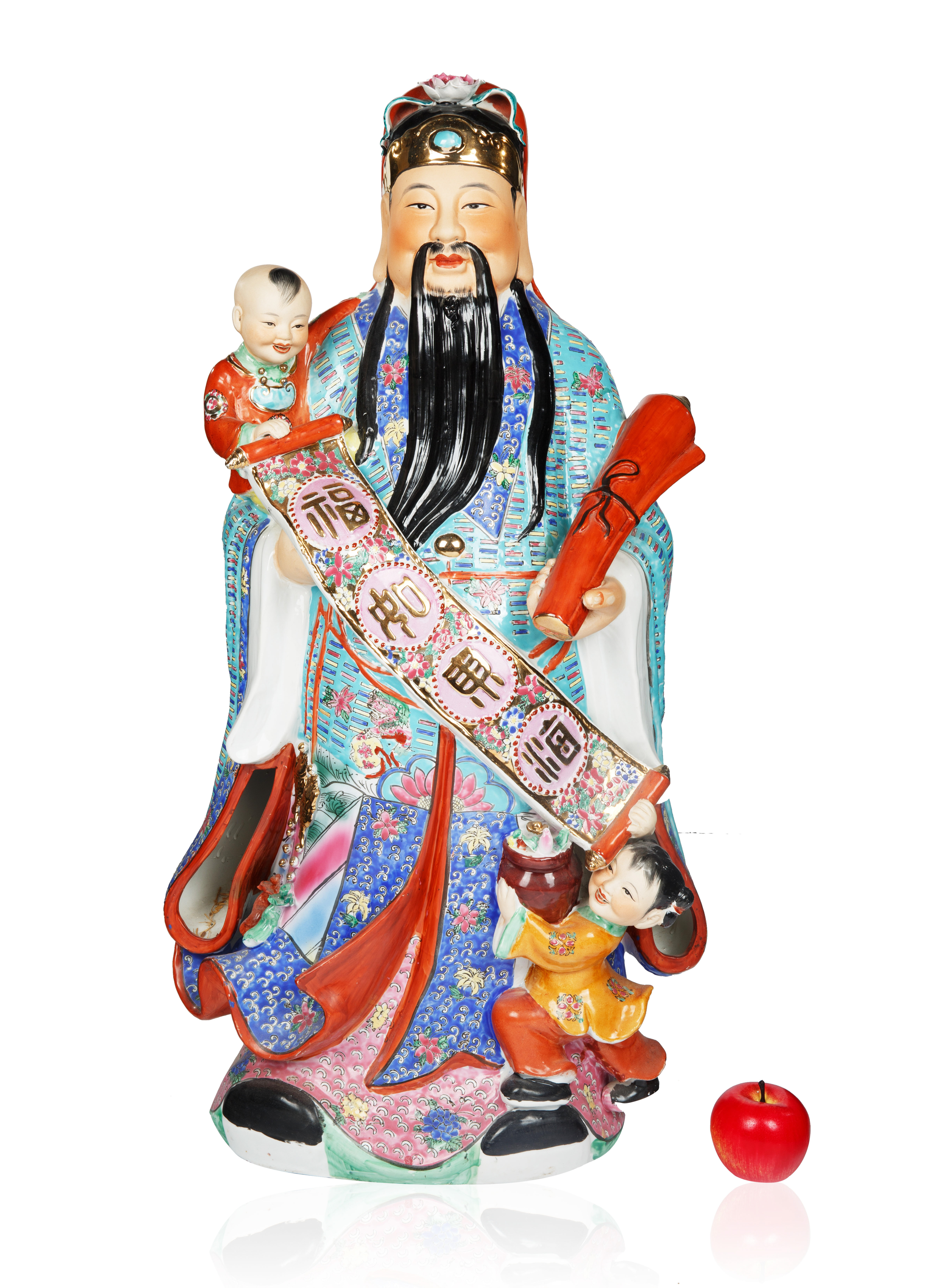 LARGE CHINESE PORCELAIN 'WISE MAN' OF PROSPERITY [FU] FIGURINE - Image 3 of 3