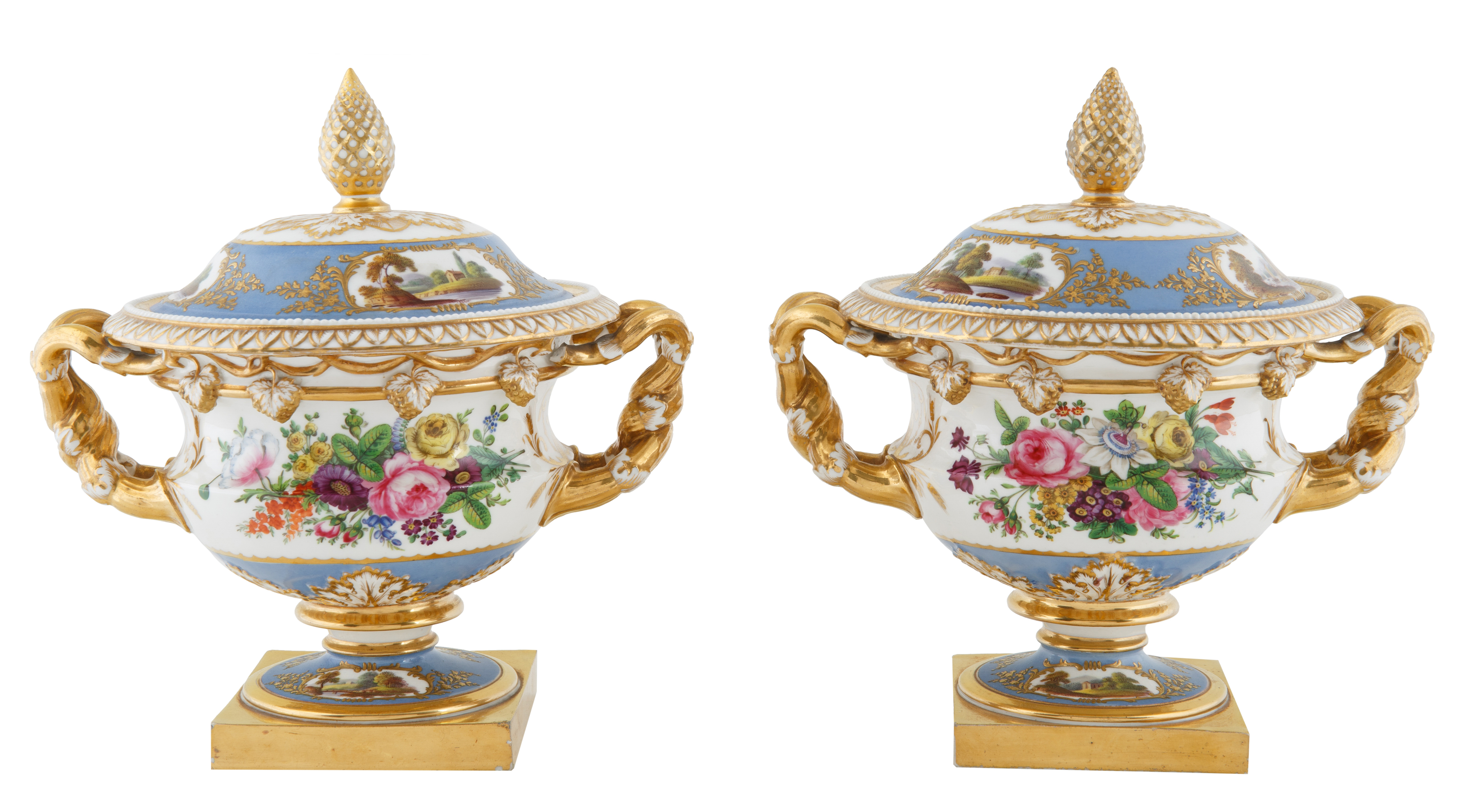 CONTINENTAL PORCELAIN COVERED URNS
