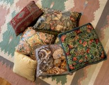 6 INTERESTING TAPESTRY AND SILK CUSHIONS