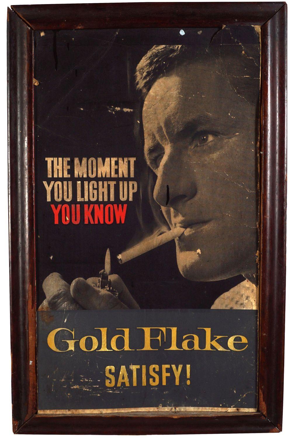 GOLD FLAKE SATISFY! ORIGINAL POSTER