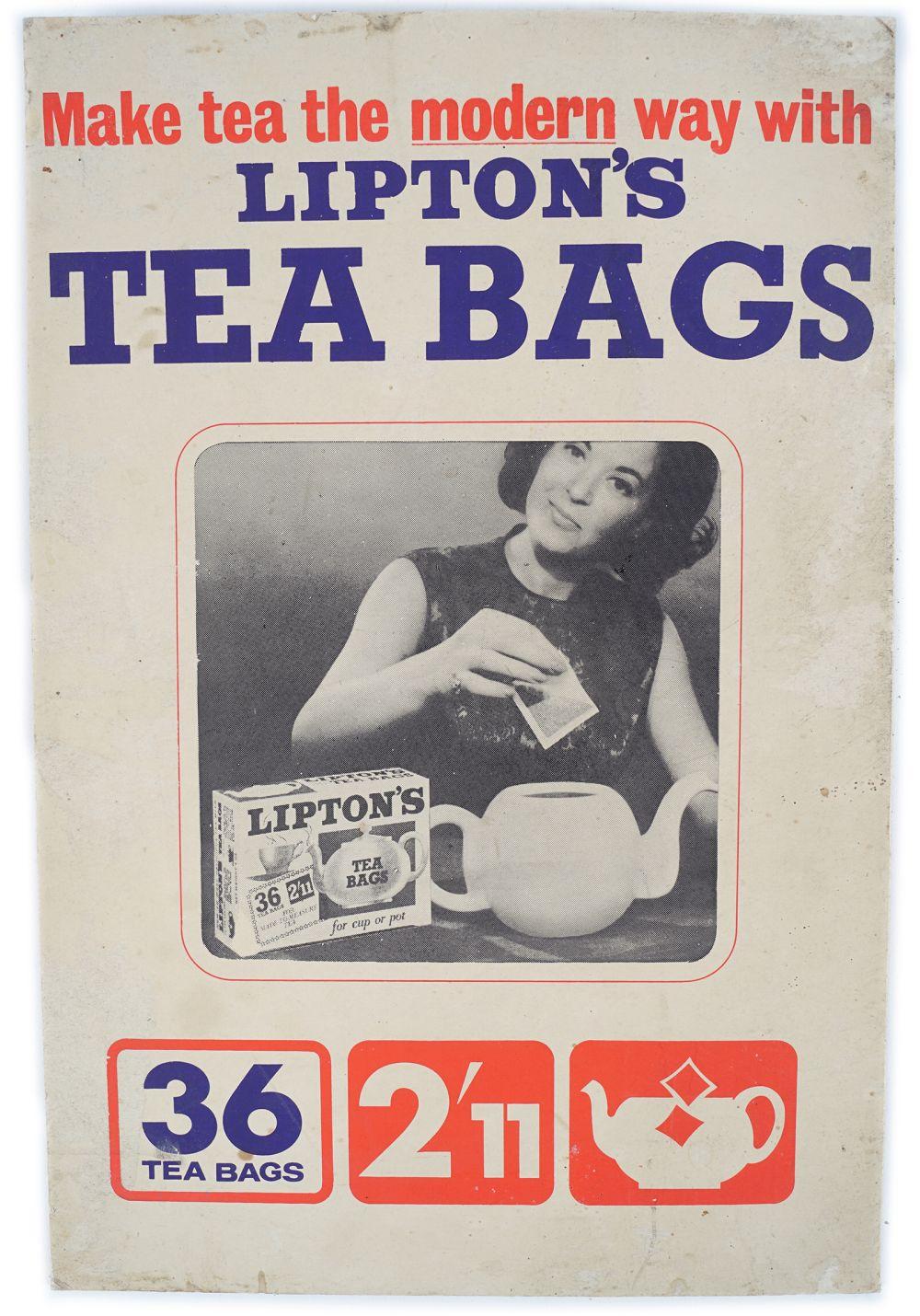 LIPTON'S TEA BAGS ORIGINAL VINTAGE POSTER