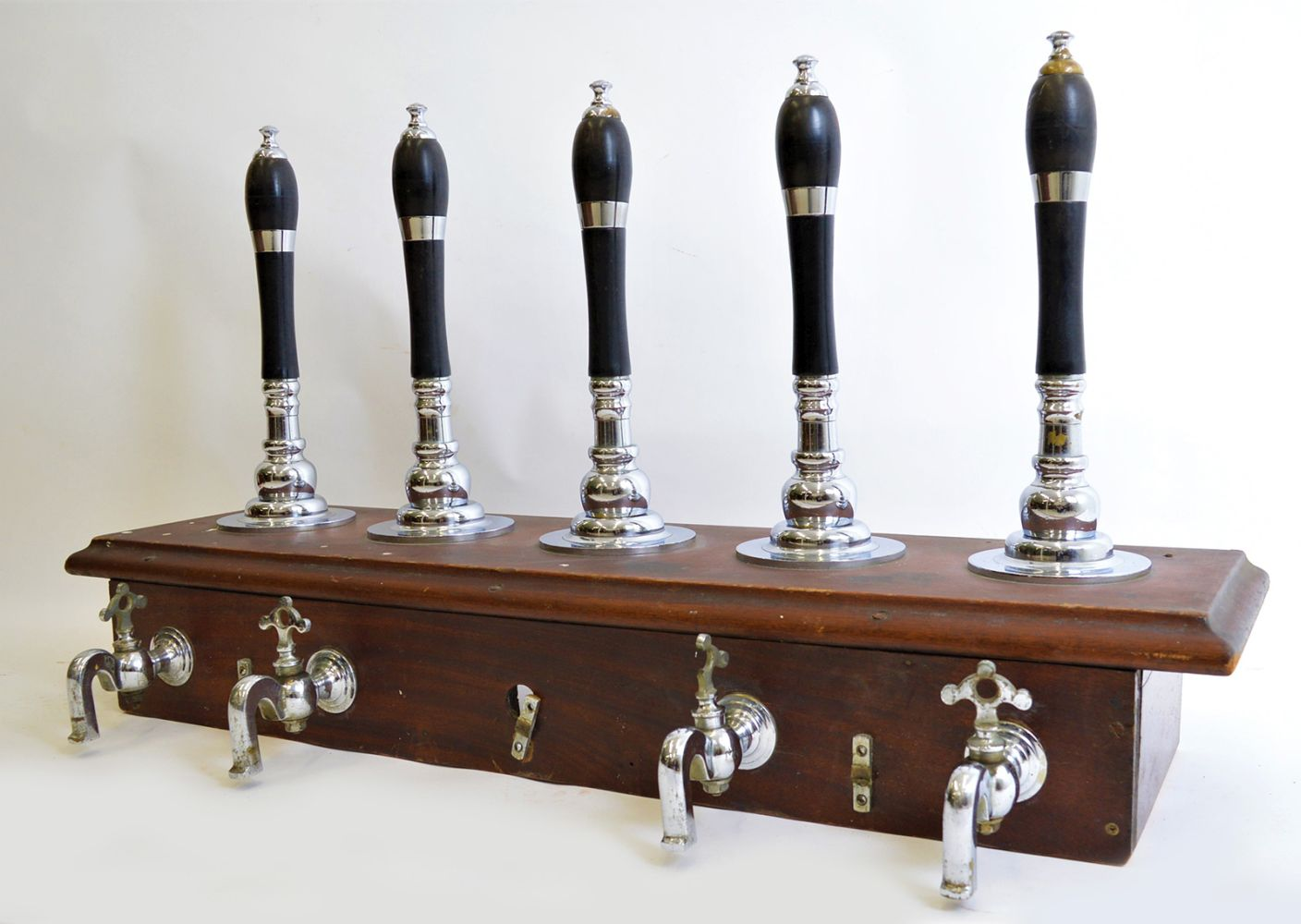 SET OF FIVE EBONY AND CHROME BEER PULLS