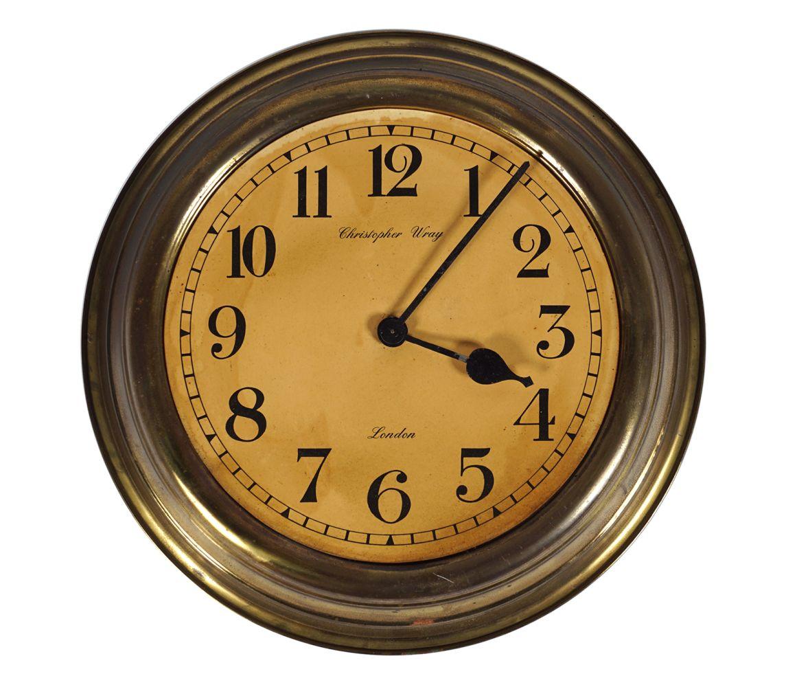CHRISTOPHER WRAY BRASS CASED CLOCK