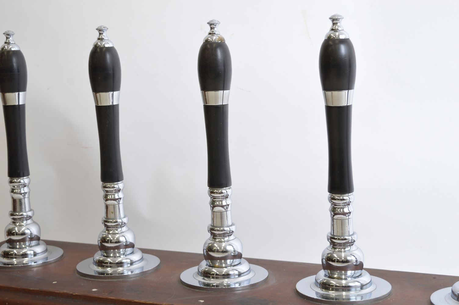 SET OF FIVE EBONY AND CHROME BEER PULLS - Image 2 of 2