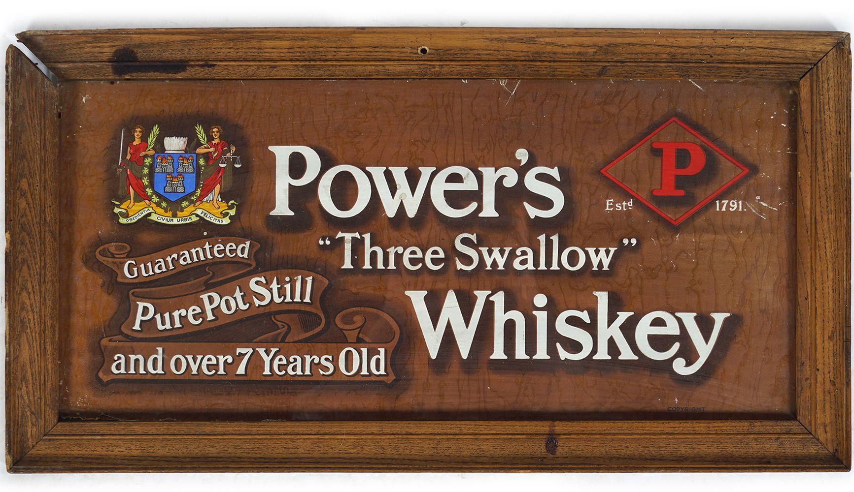 POWERS THREE SWALLOW WHISKEY ORIGINAL POSTER