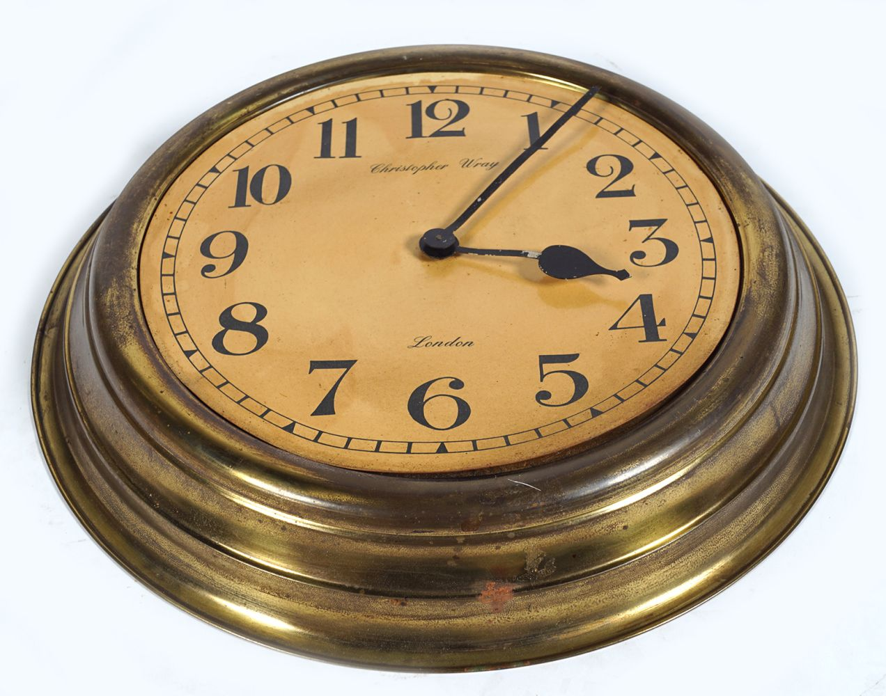 CHRISTOPHER WRAY BRASS CASED CLOCK - Image 4 of 5