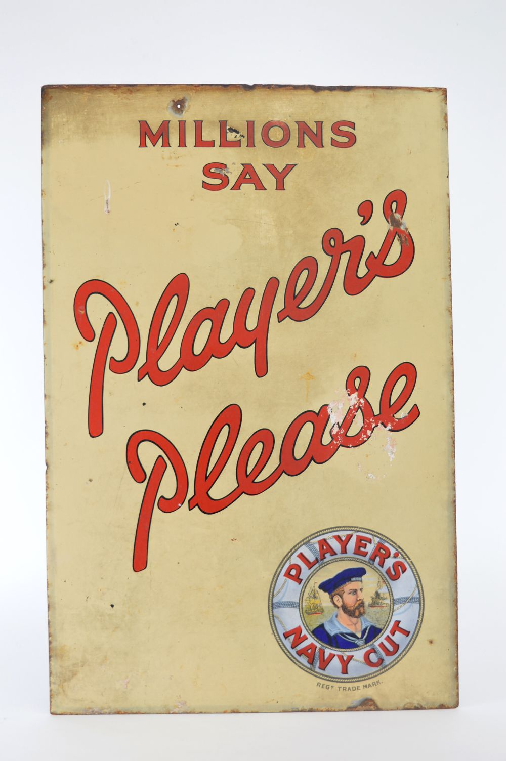 MILLIONS SAY PLAYERS PLEASE ENAMELLED SIGN