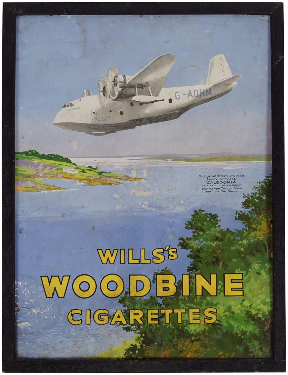 WILLS'S WOODBINE CIGARETTES ORIGINAL POSTER
