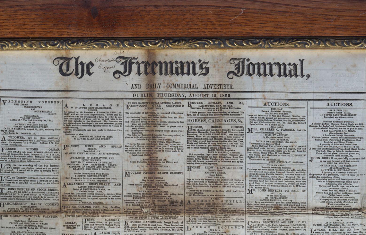 THE FREEMAN'S JOURNAL FRAMED NEWSPAPER - Image 2 of 8