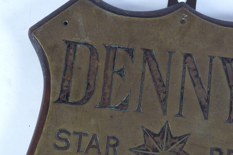DENNY'S STAR BRAND ORIGINAL BRASS PLAQUE - Image 2 of 3