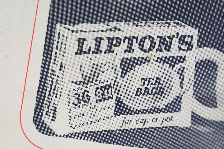 LIPTON'S TEA BAGS ORIGINAL VINTAGE POSTER - Image 4 of 4