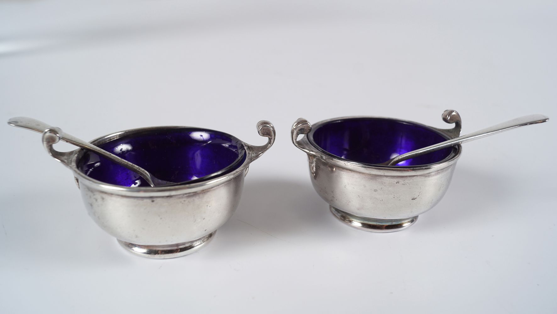 PAIR OF SILVER CONDIMENTS