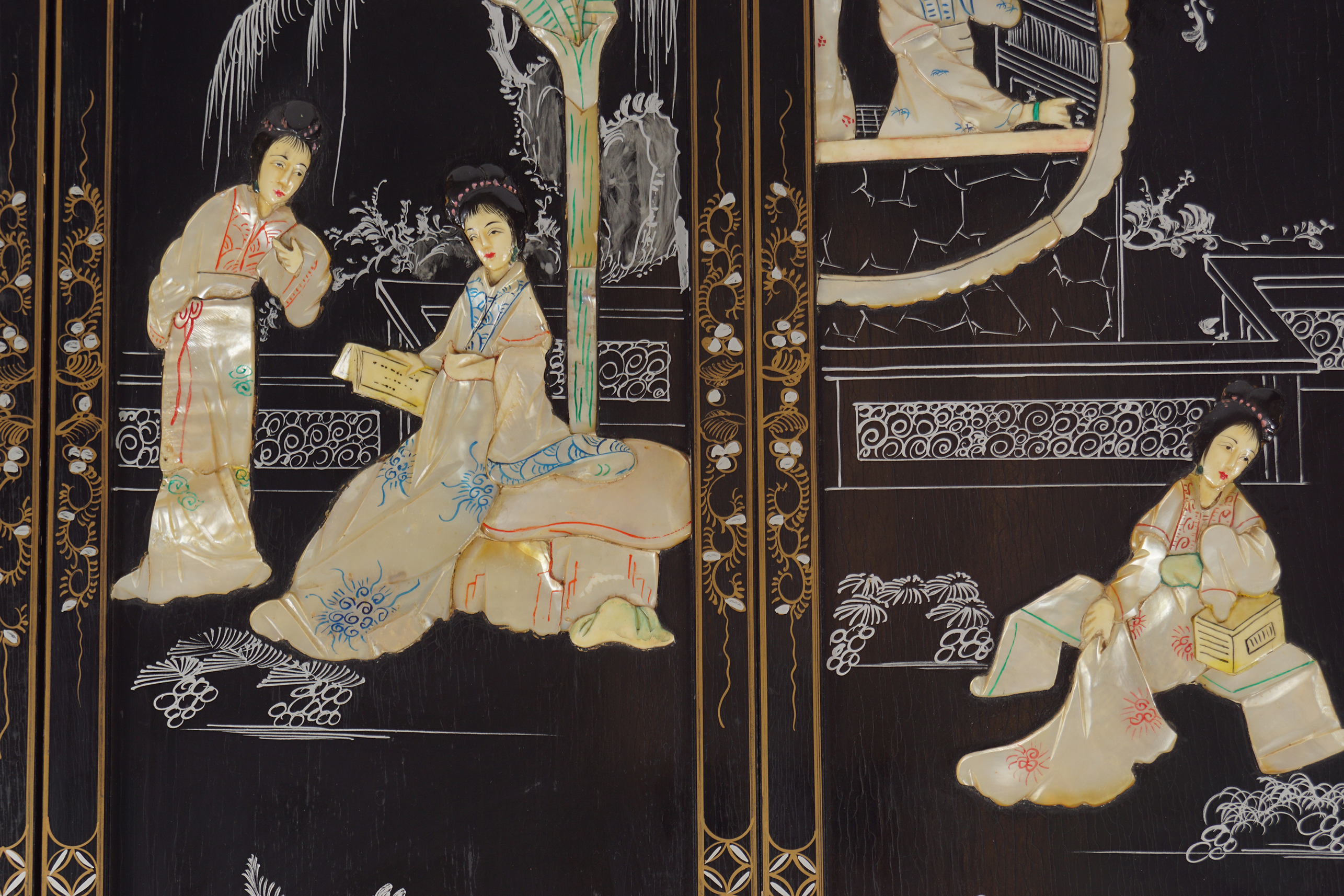 FOUR PIETRA DURA CHINESE PANELS - Image 2 of 4