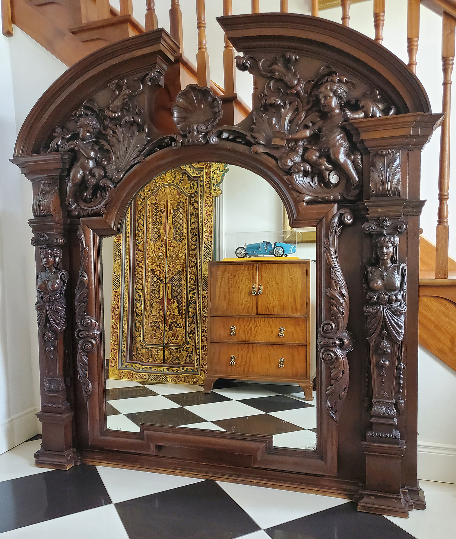 LARGE 19TH-CENTURY CARVED MIRROR