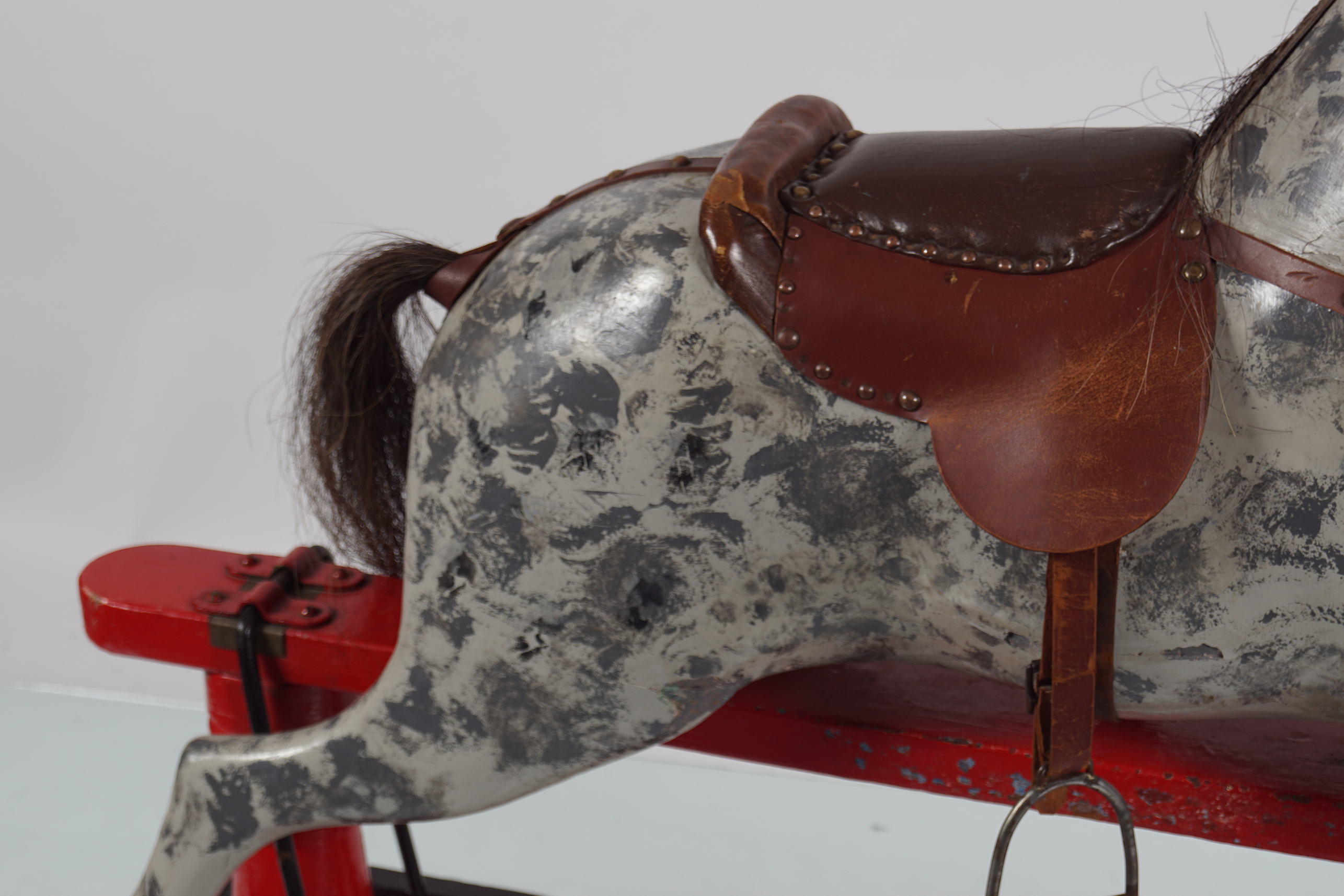 ANTIQUE POLYCHROME WOODEN ROCKING HORSE - Image 3 of 4