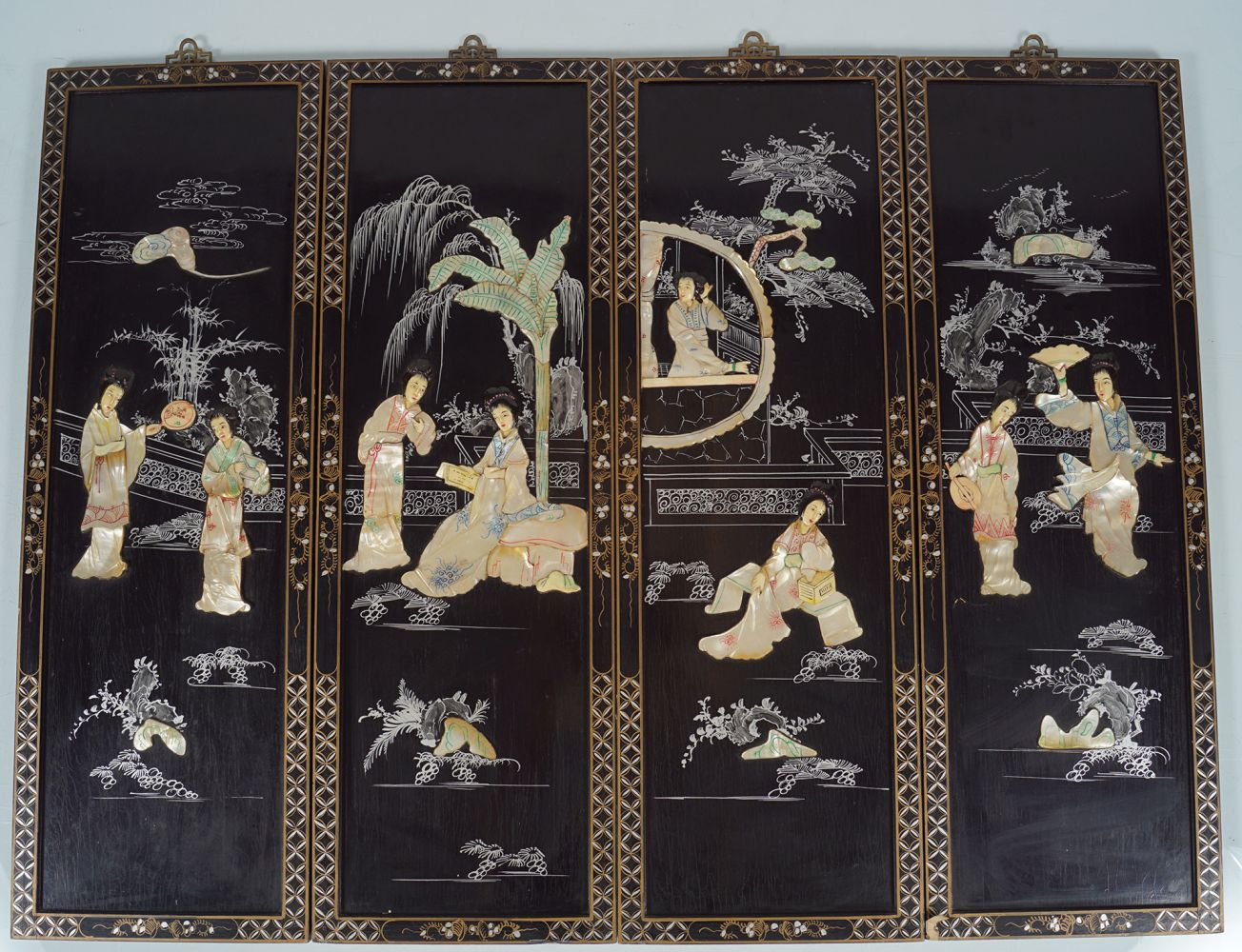FOUR PIETRA DURA CHINESE PANELS - Image 4 of 4