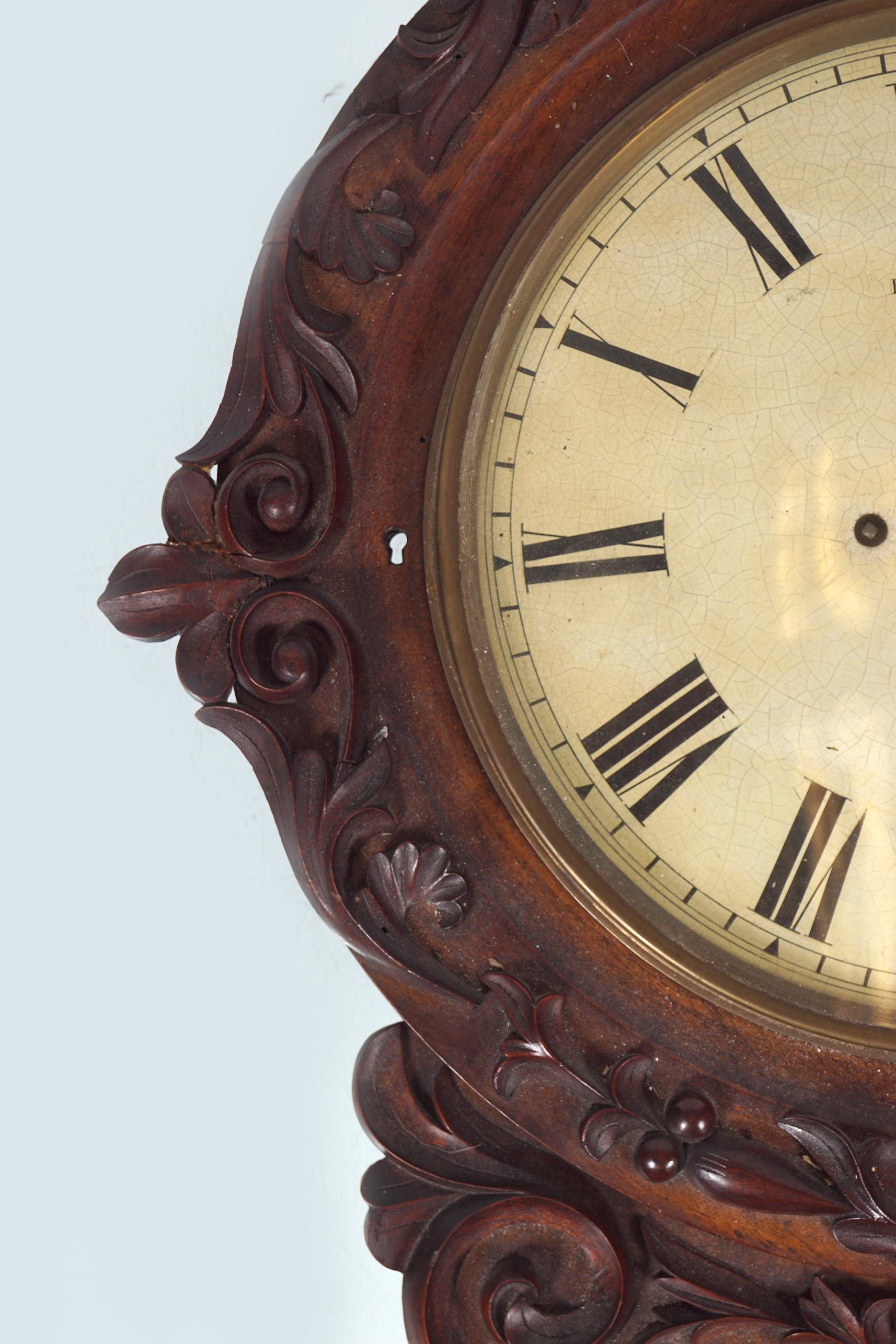 LARGE 19TH-CENTURY MAHOGANY DROP DIAL WALL CLOCK - Image 3 of 4