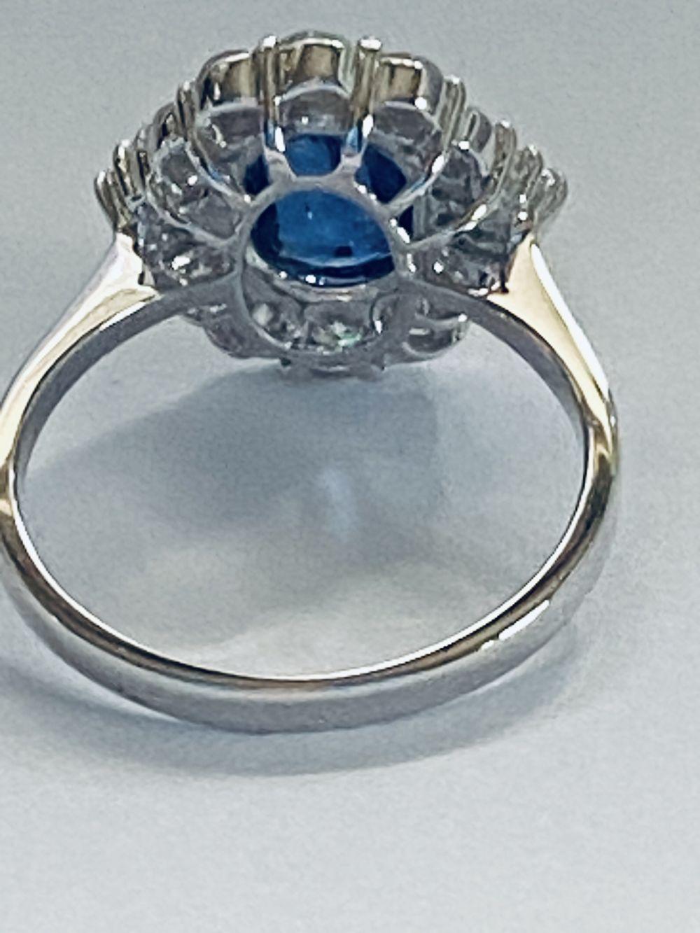 ART DECO DIAMOND AND CEYLON SAPPHIRE CLUSTER RING - Image 7 of 7