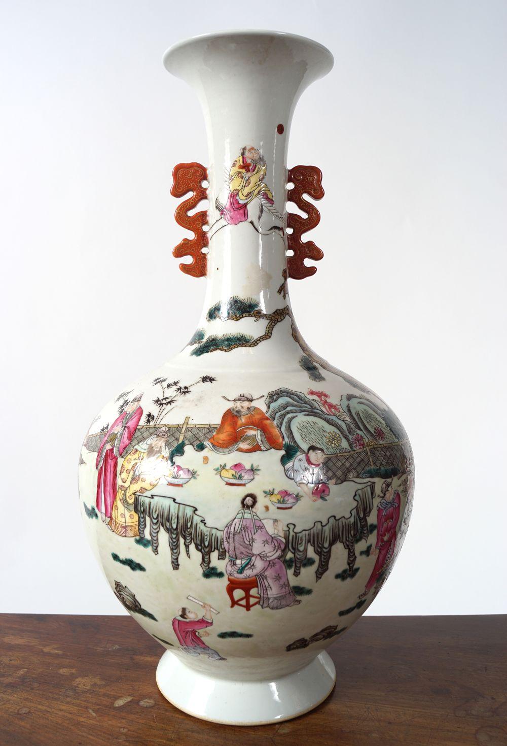 CHINESE QING POLYCHROME VASE