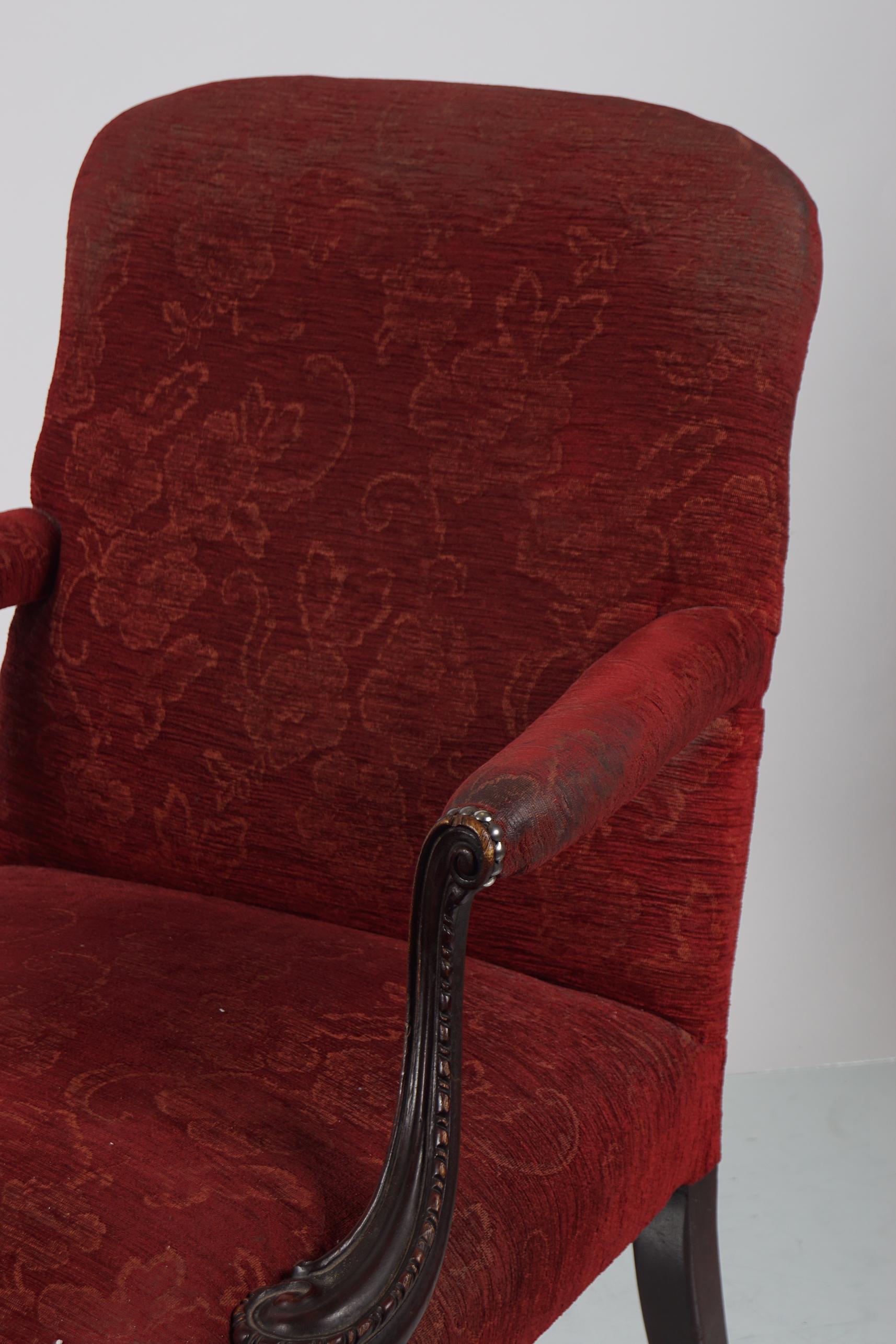 19TH-CENTURY MAHOGANY GAINSBOROUGH CHAIR - Image 2 of 2