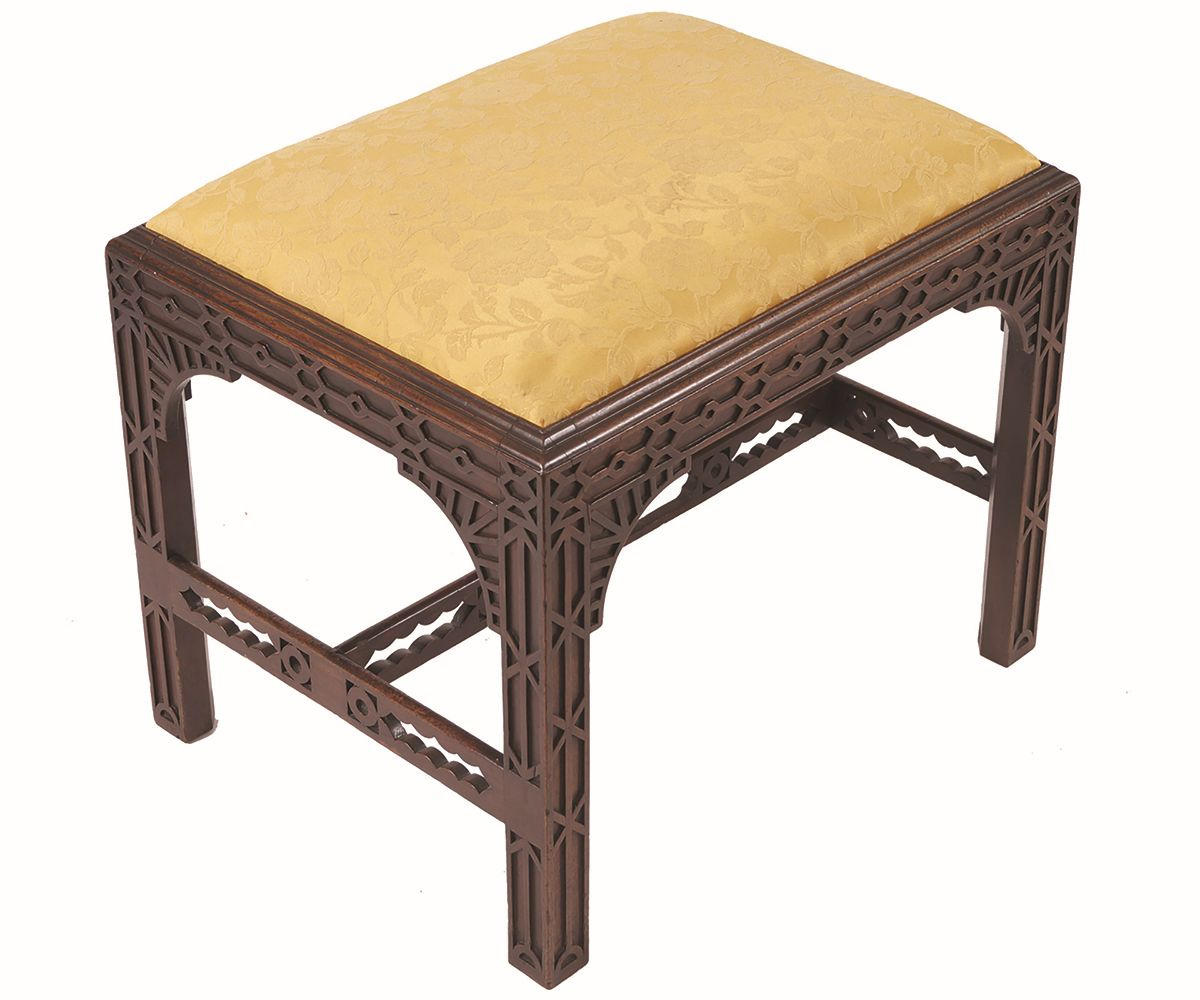 GEORGE III PERIOD MAHOGANY CHIPPENDALE STOOL