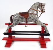 ANTIQUE POLYCHROME WOODEN ROCKING HORSE