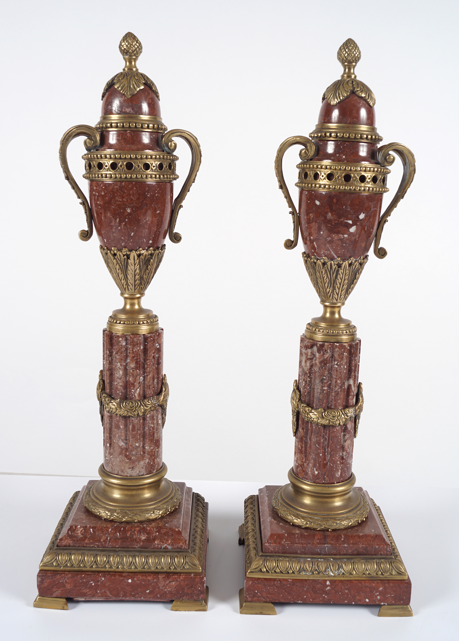 PAIR OF ROUGE ROYALE MARBLE CASSOULETS