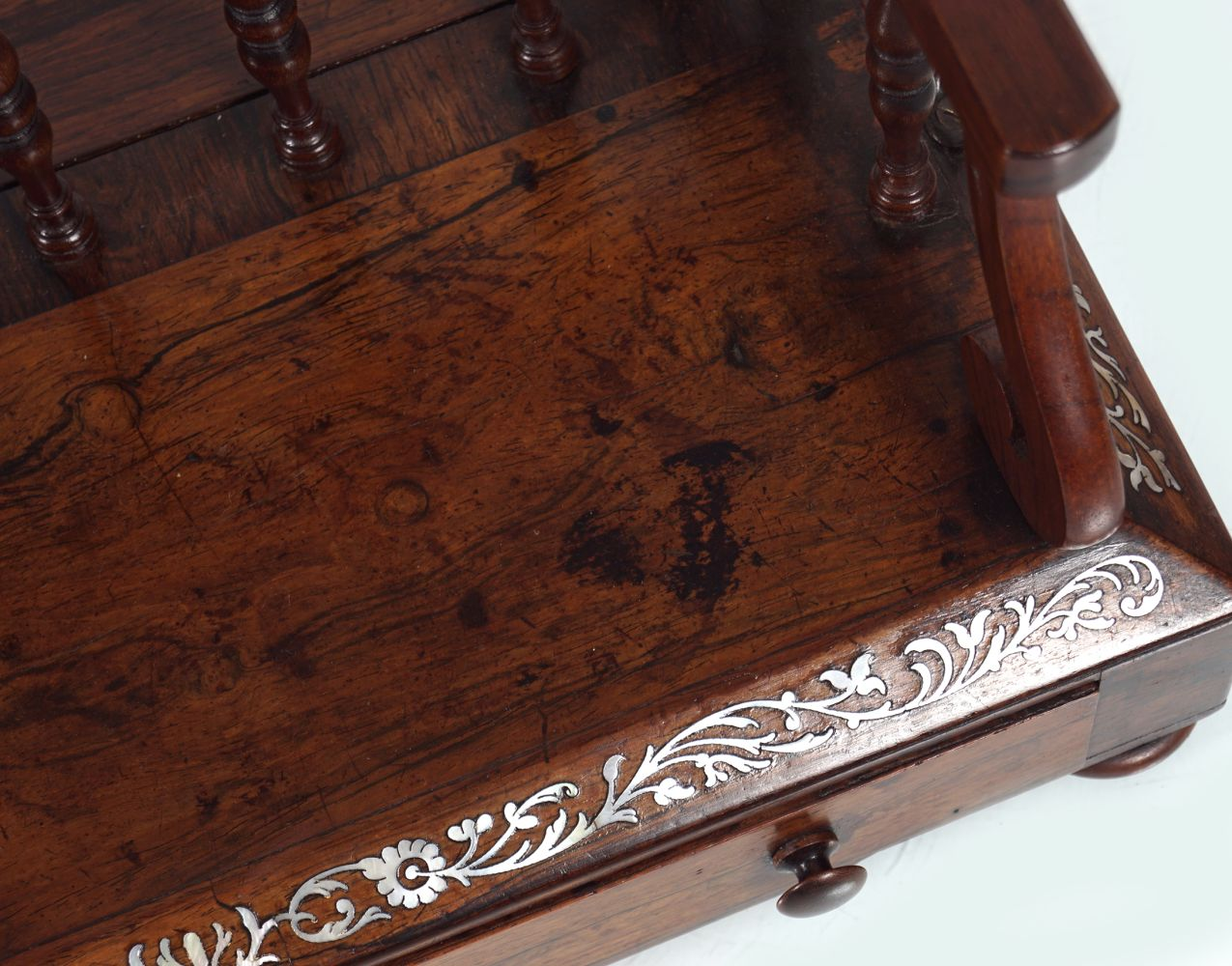 REGENCY ROSEWOOD AND MOTHER O'PEARL BOOK STAND - Image 3 of 3