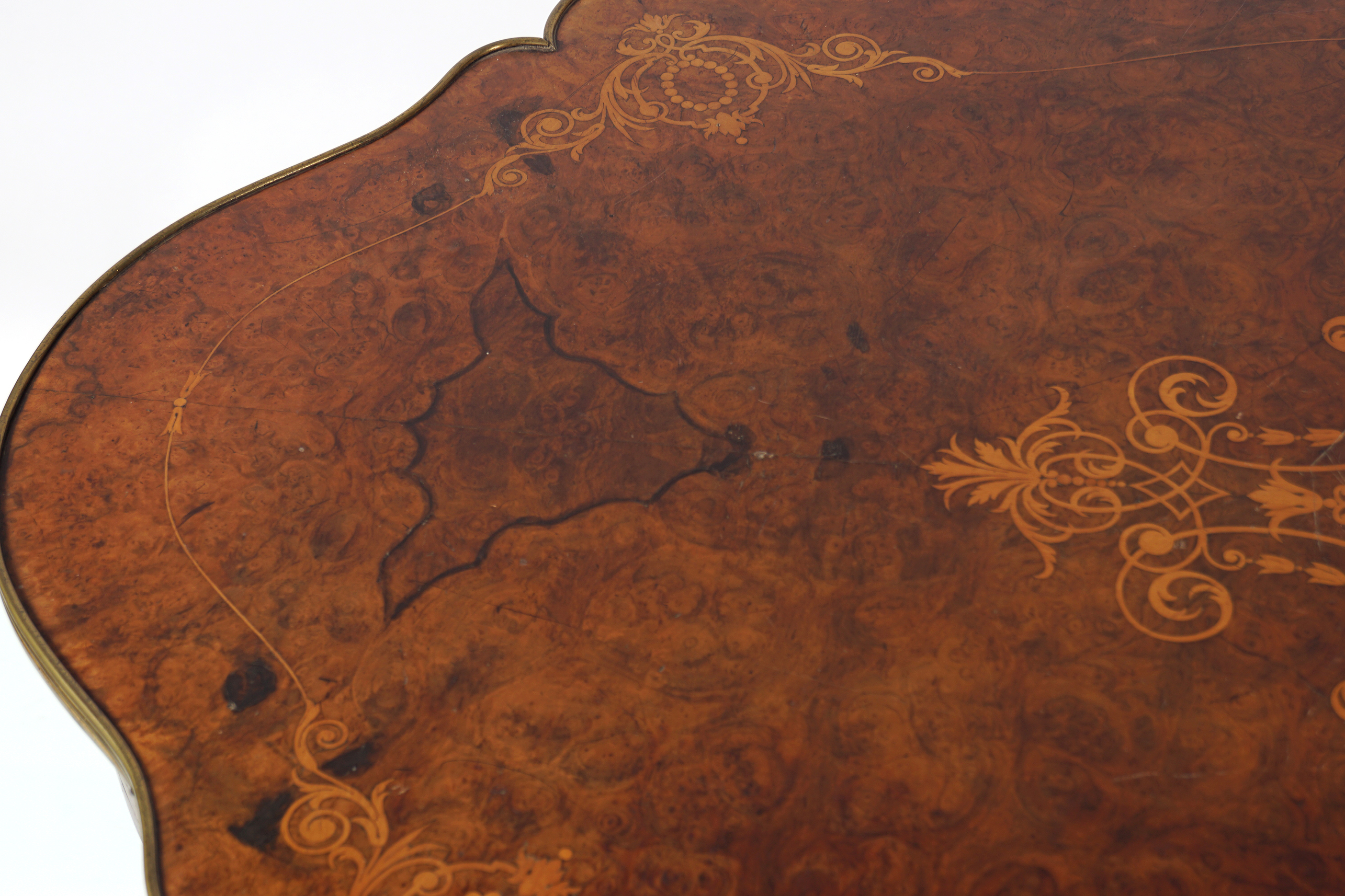 VICTORIAN INLAID WALNUT CENTRE TABLE - Image 4 of 5