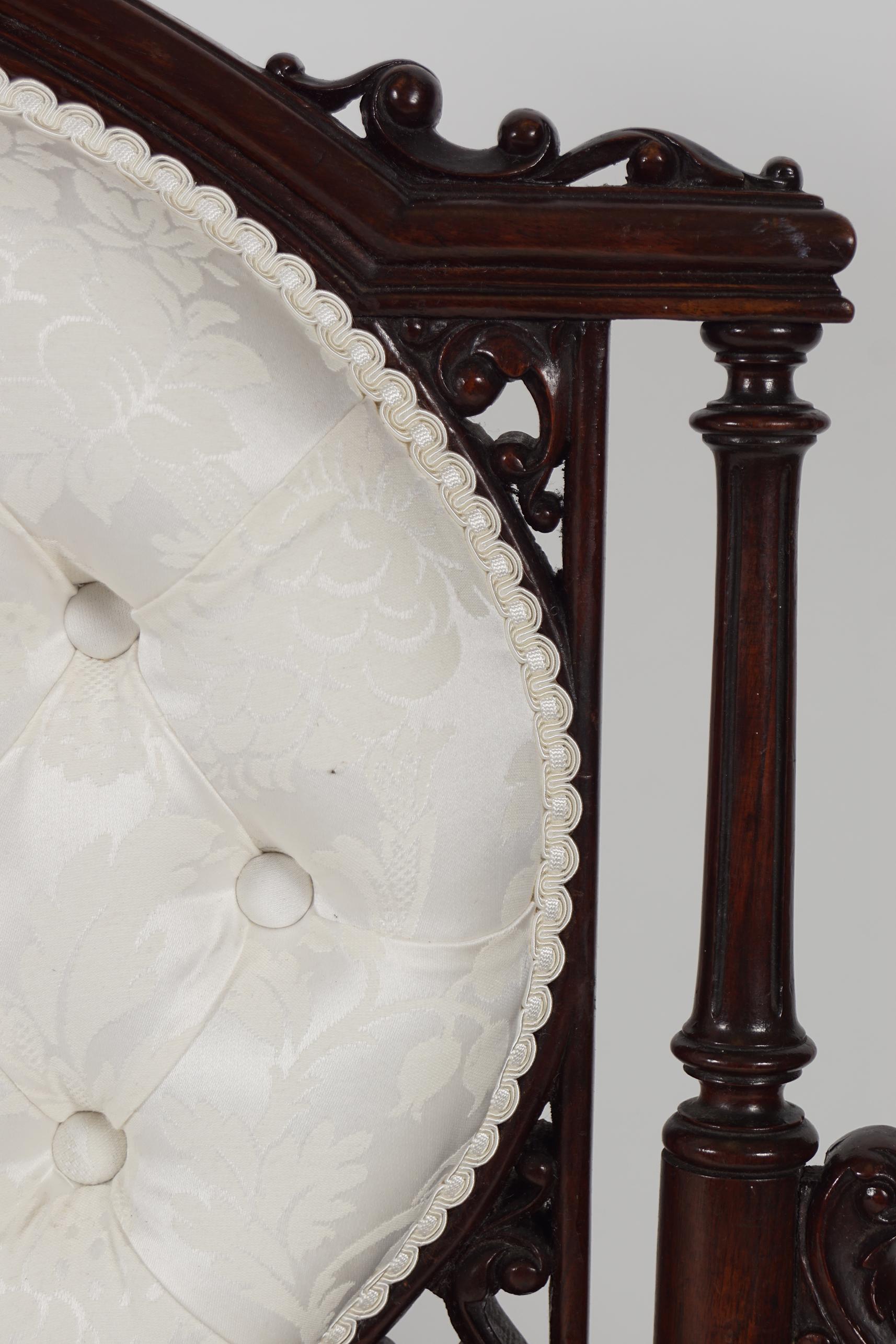 19TH-CENTURY WALNUT SETTEE - Image 3 of 5