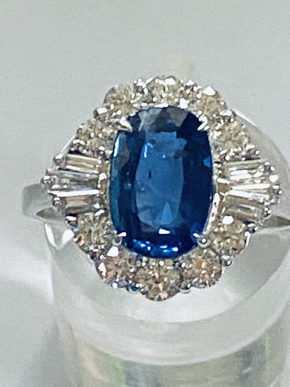 ART DECO DIAMOND AND CEYLON SAPPHIRE CLUSTER RING - Image 2 of 7