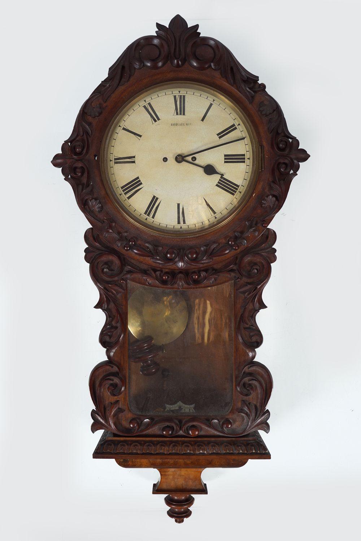 LARGE 19TH-CENTURY MAHOGANY DROP DIAL WALL CLOCK
